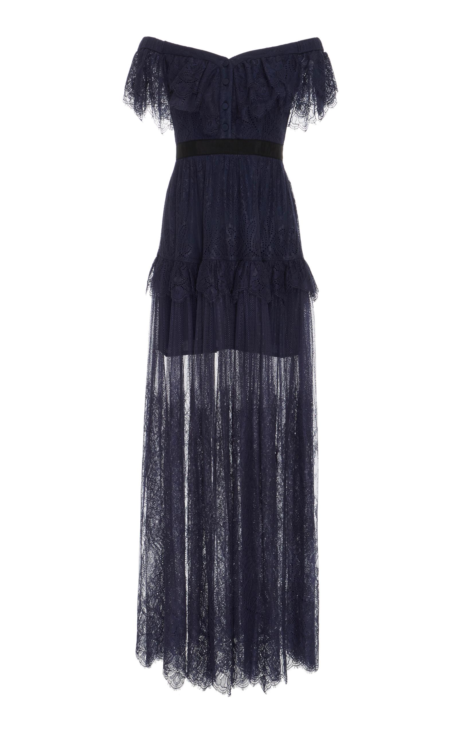3bb1efba28b Off-the-Shoulder Lace Maxi Dress by Self Portrait
