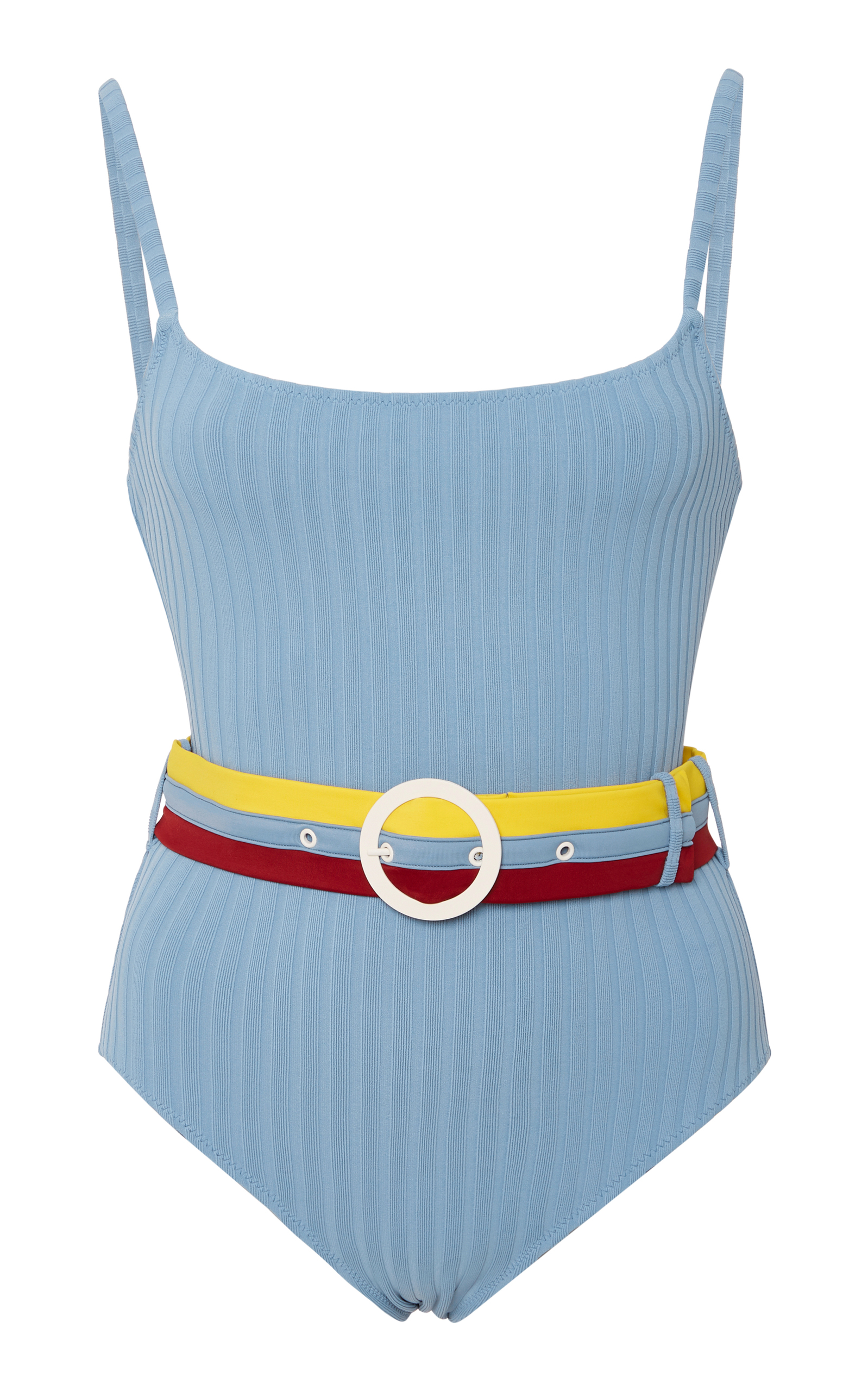 Belted Ribbed One Piece Swimsuit