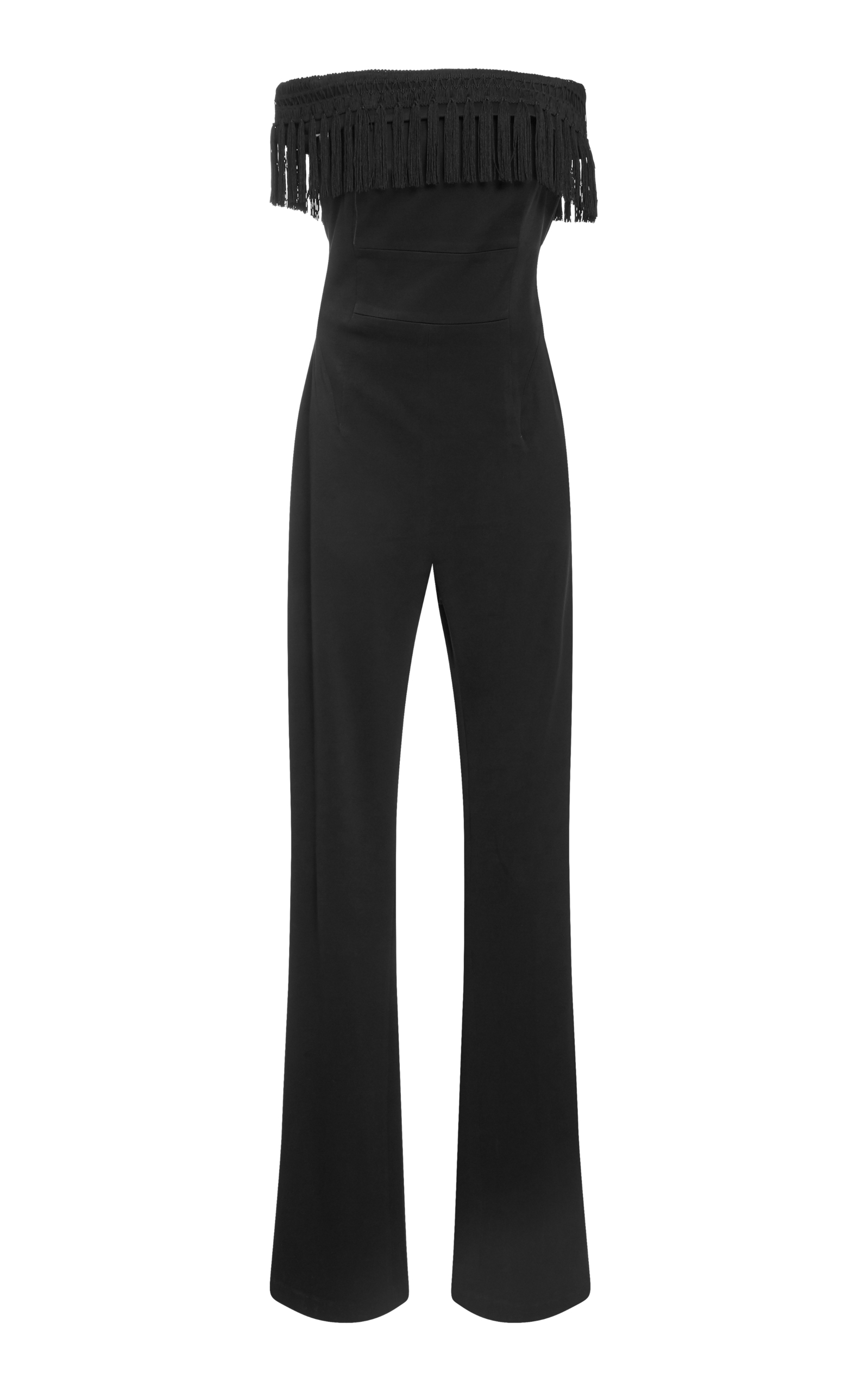 Conquista Fringed Off-The-Shoulder Satin Jumpsuit in Black