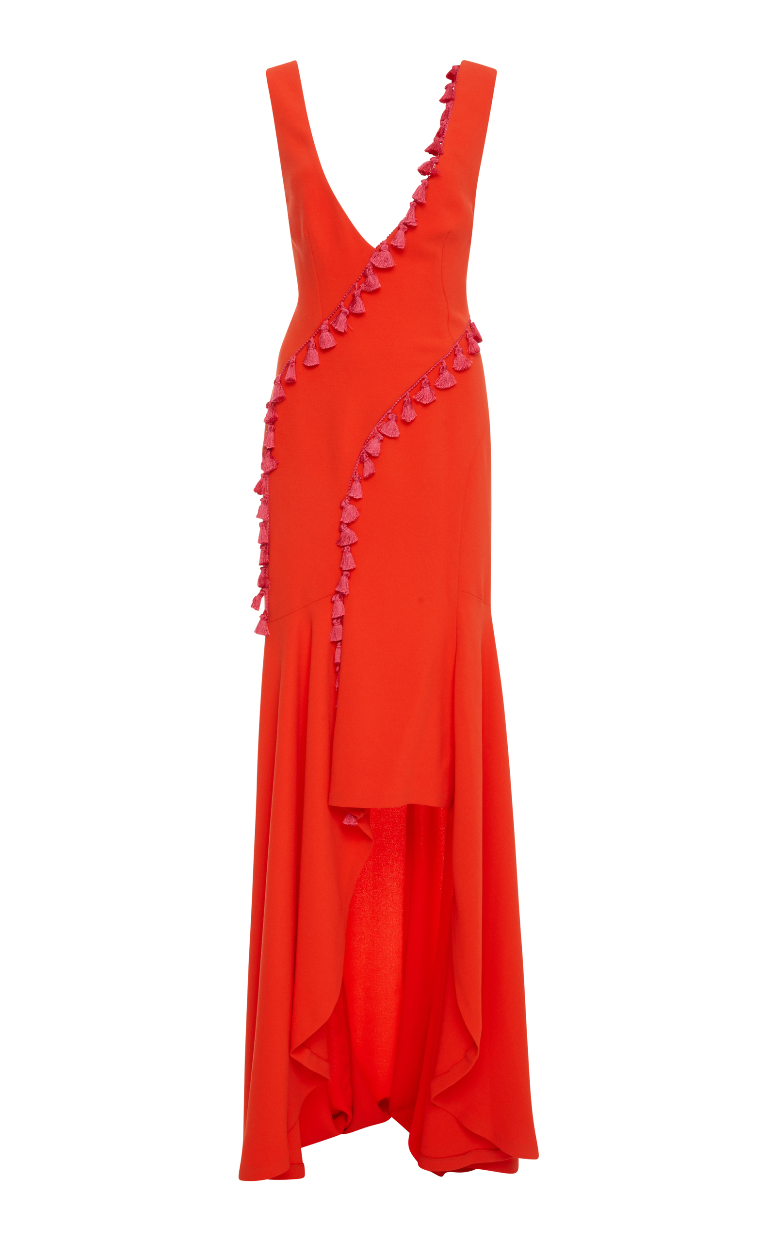 Sleeveless Plunging Crepe High-Low Evening Gown W/ Tassel Trim in Red