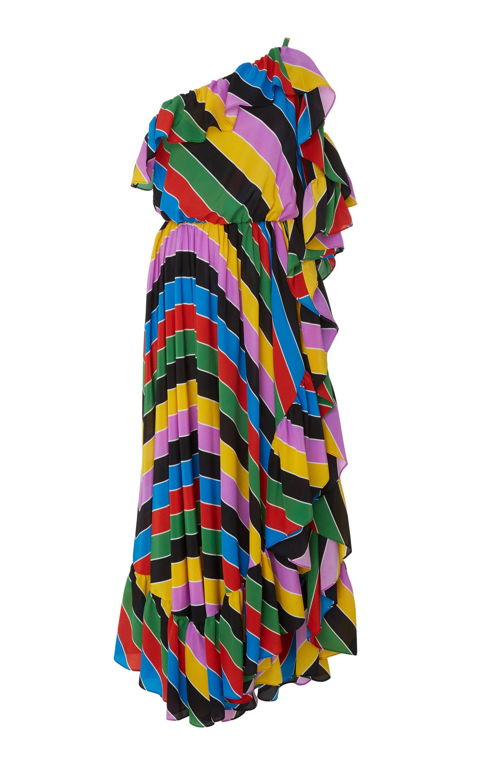 Amazing Price Cheap Price Asymmetric Ruffled Printed Silk Midi Dress Philosophy di Lorenzo Serafini Cheap Sale Wide Range Of Low Cost Quality Free Shipping For Sale Outlet 100% Original p4pcU1Cg