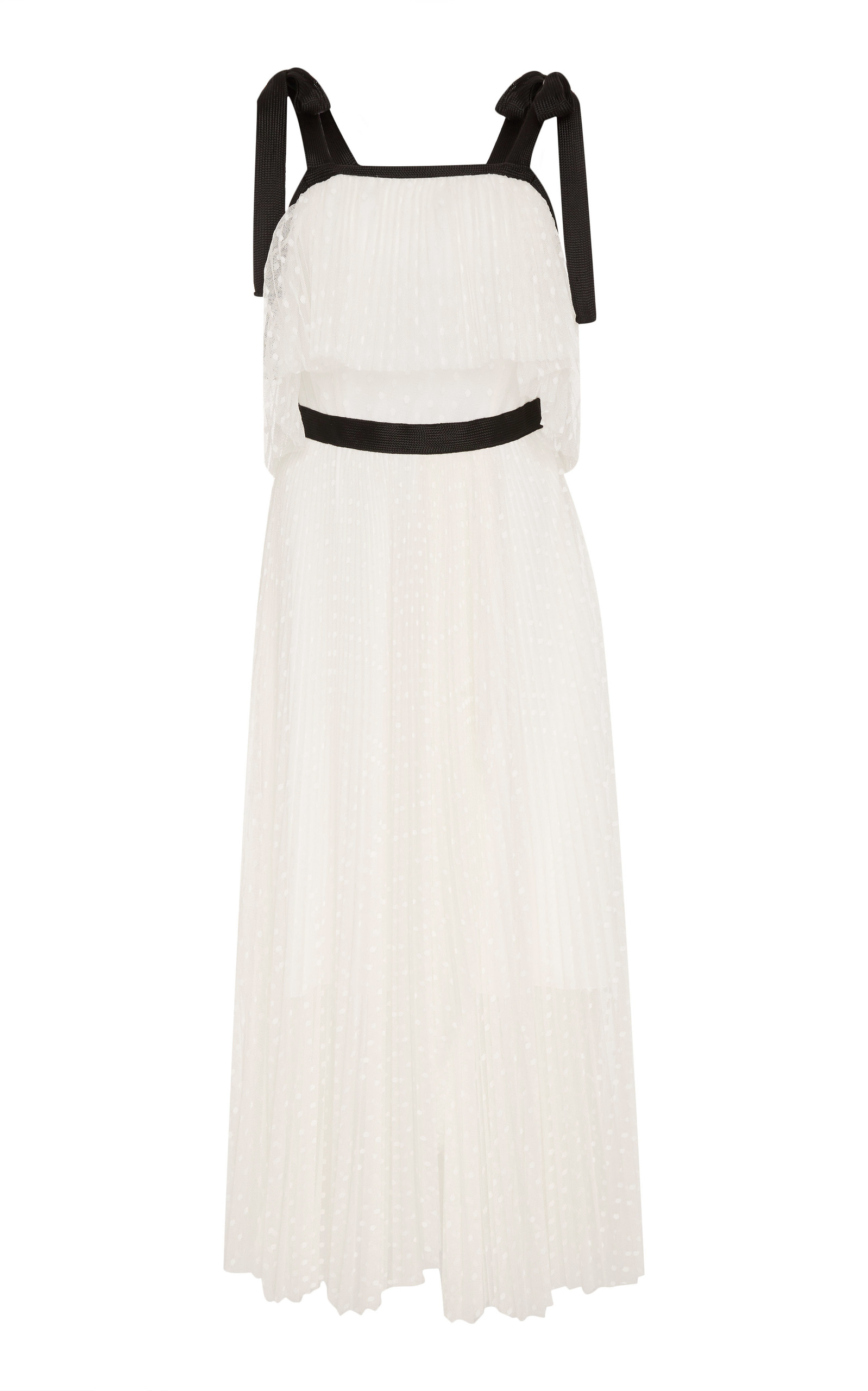 Pleated Dotted-Lace Maxi Dress - White Size 42 It