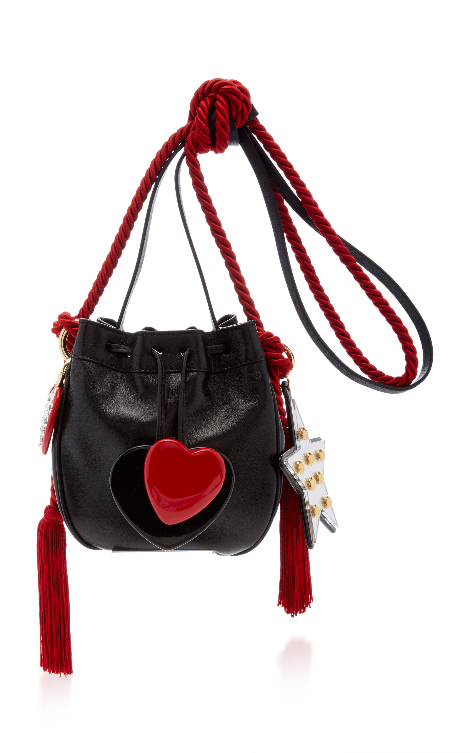 Leather bag with black and red heart Philosophy di Lorenzo Serafini