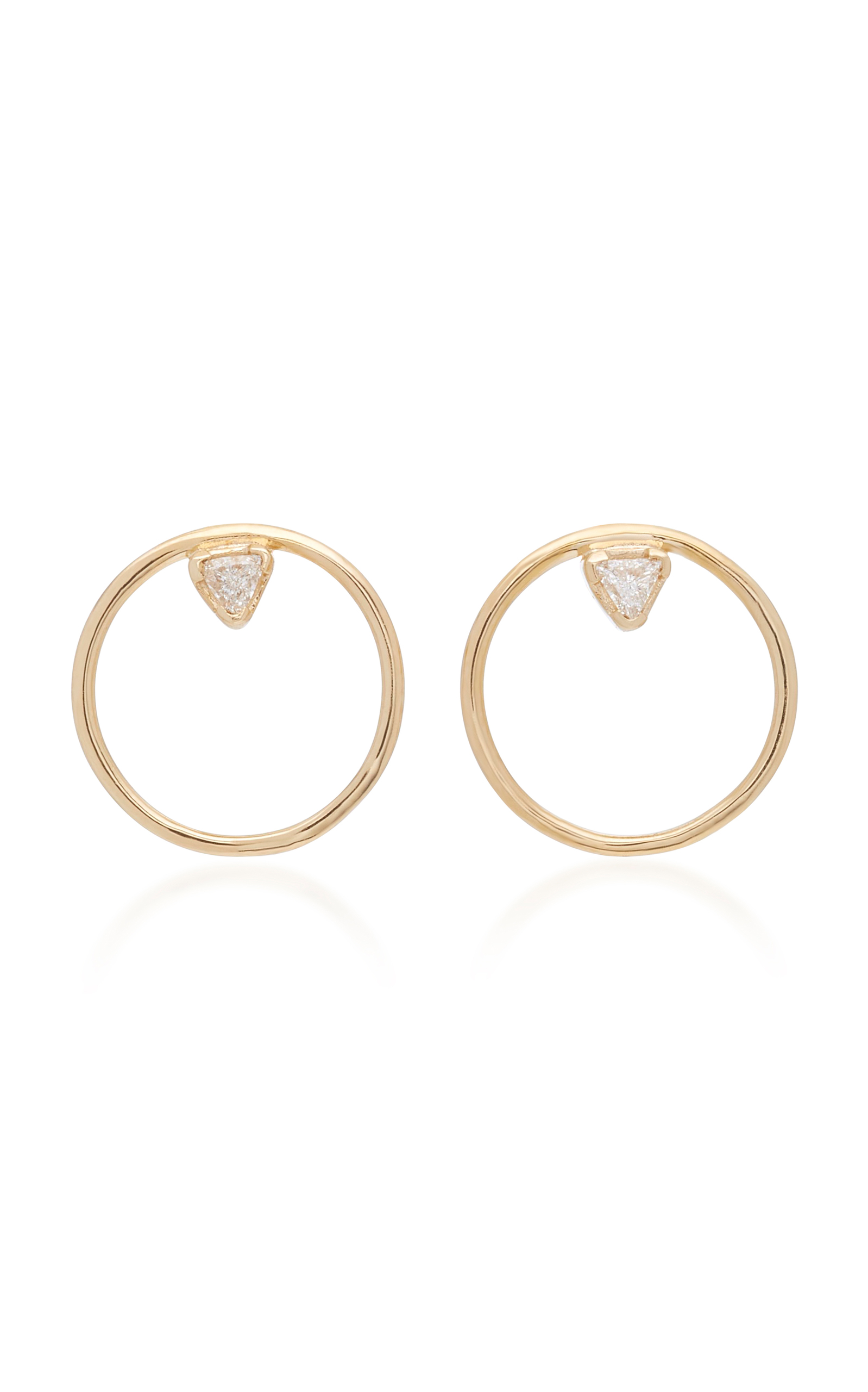 Trillion 14K Gold Diamond Hoop Dangle Earrings by