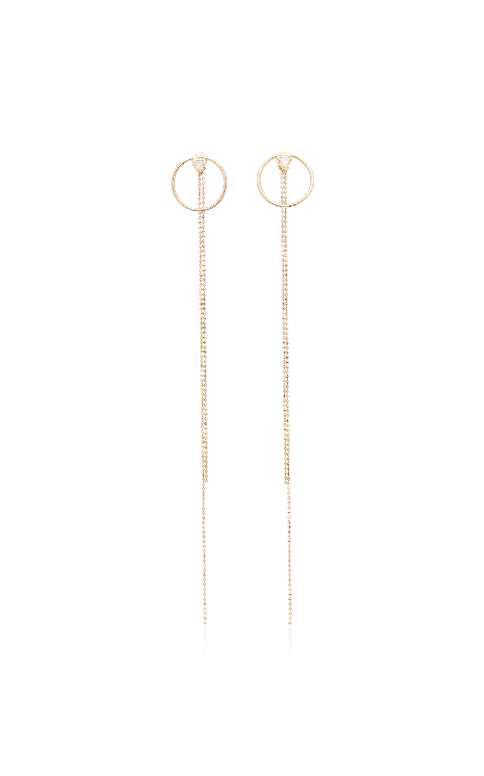 Trillion 14K Gold Diamond Hoop Dangle Earrings by