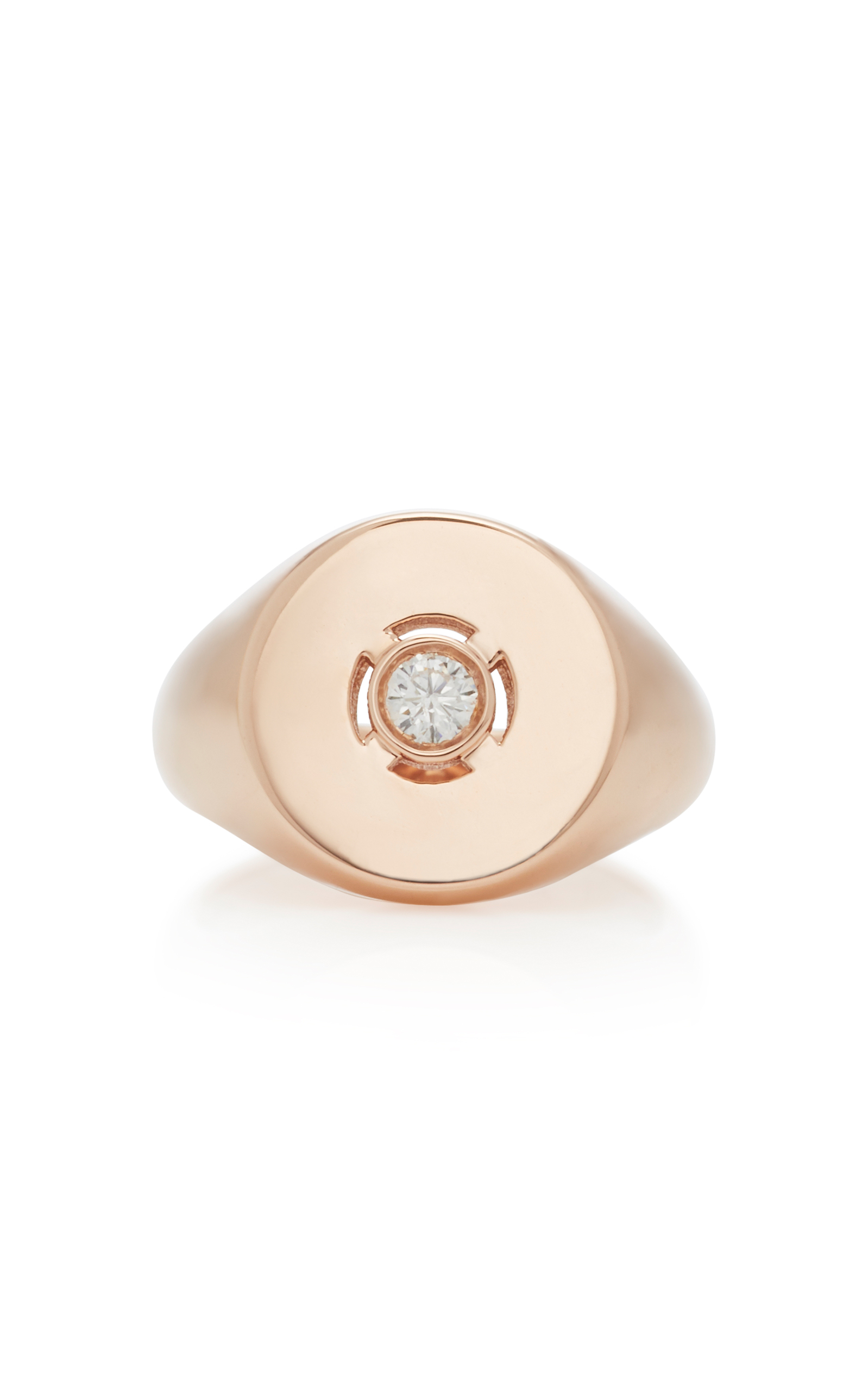 DISCUS 18K ROSE GOLD DIAMOND PINKY RING