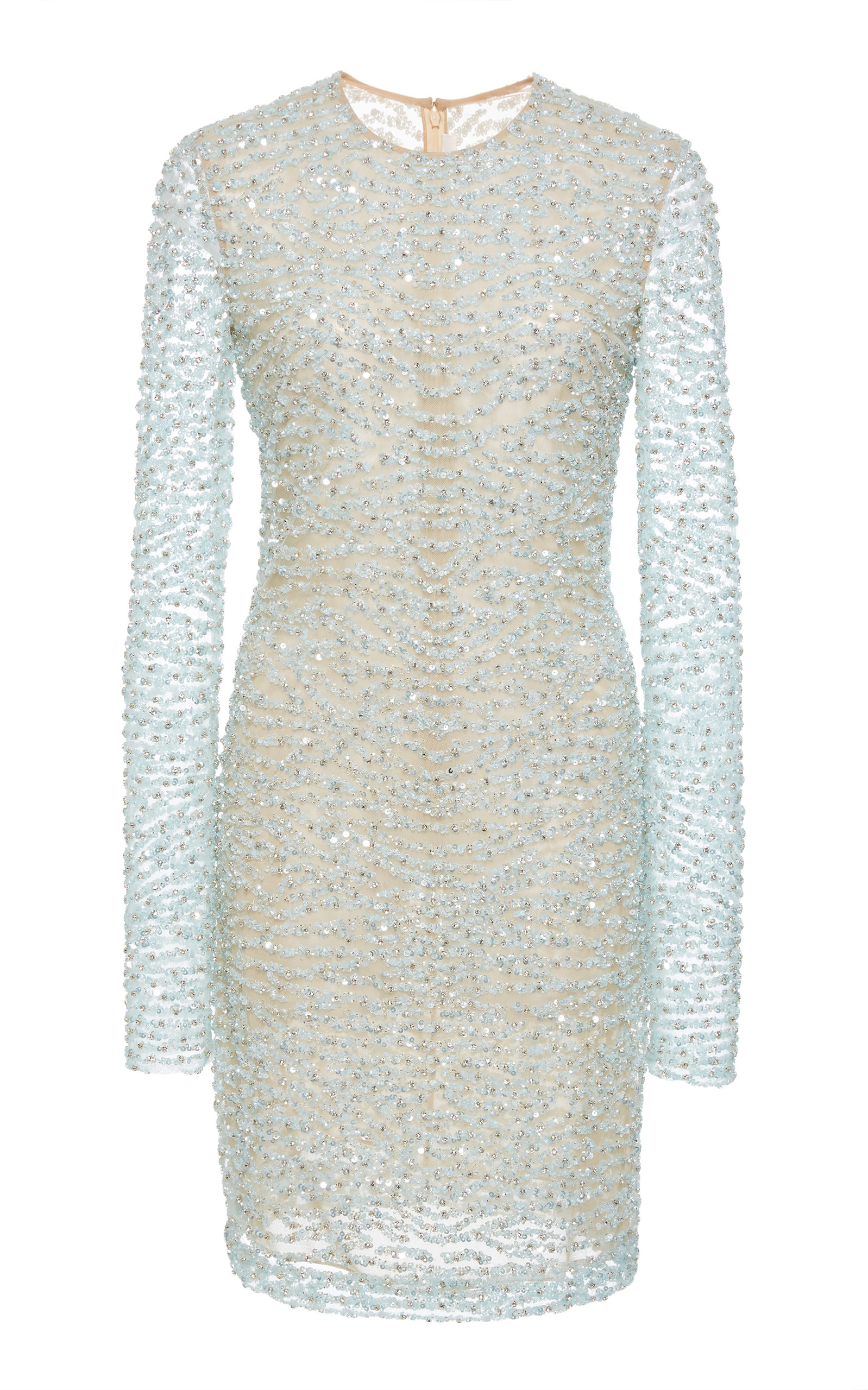 Long Sleeve Beaded Mini Dress Naeem Khan zyF5syAI
