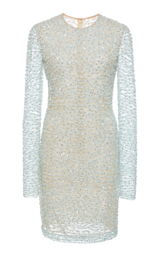 2a70db70fbd0 Naeem KhanLong Sleeve Beaded Mini Dress