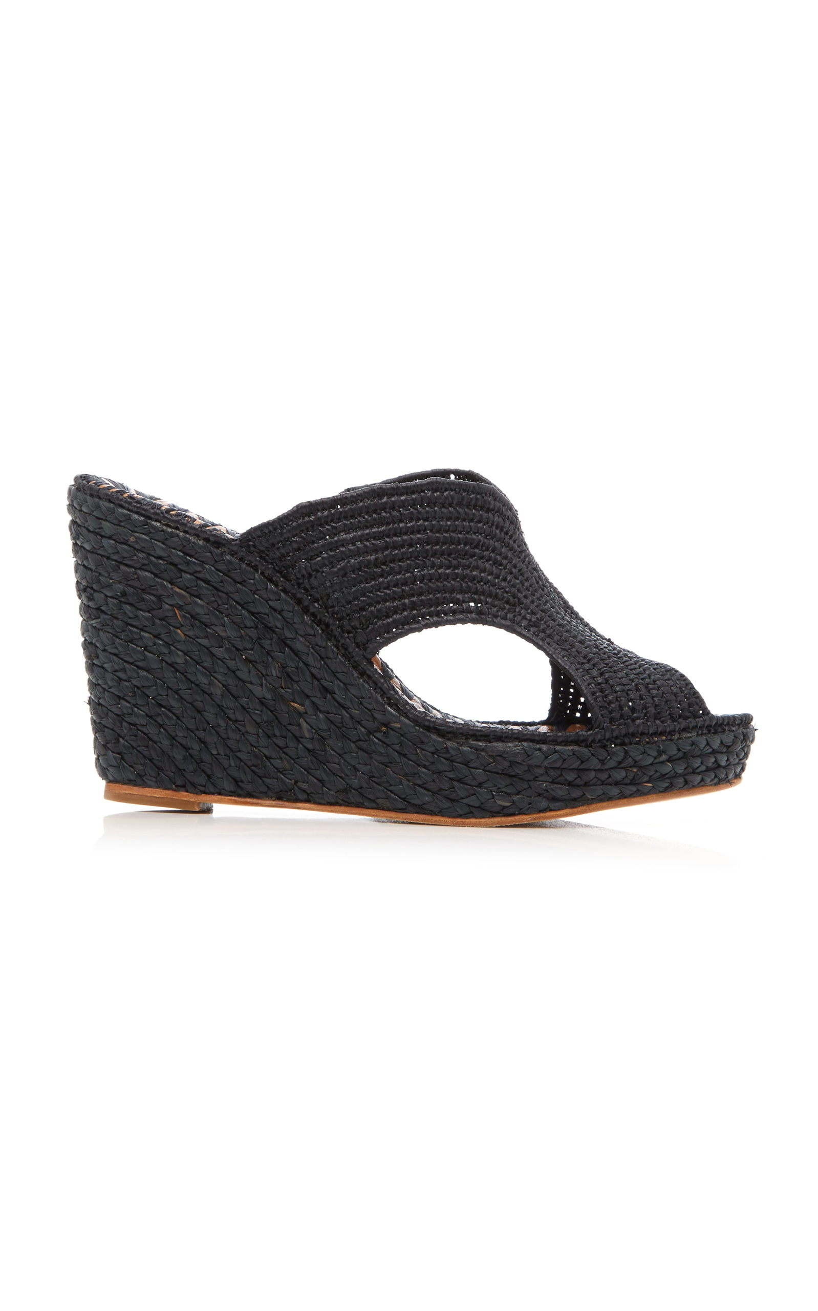 Carrie Forbes Lina Raffia Wedge Slides