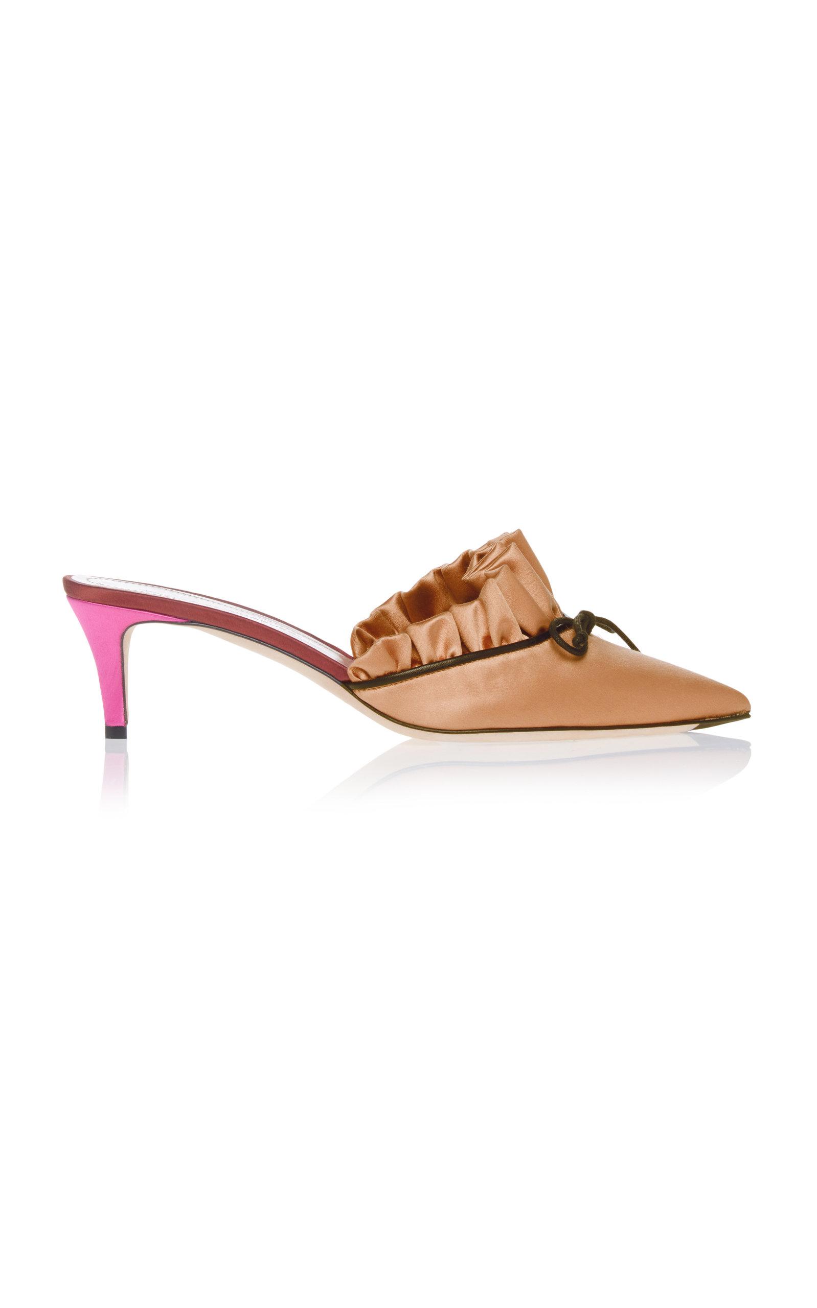 MARCO DE VINCENZO Point-toe bow-embellished satin mules Outlet Ebay dCSN6K