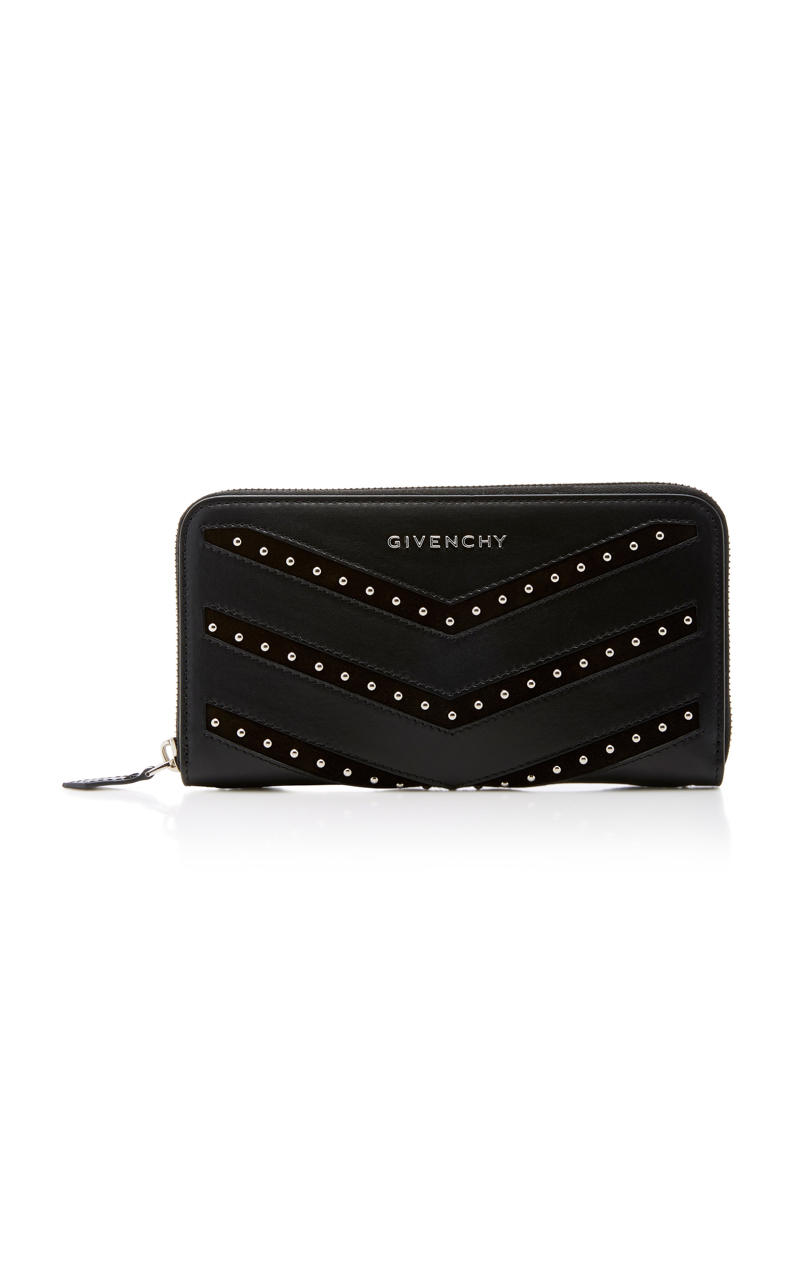 Pandora Studded Suede Trimmed Leather Wallet by Givenchy