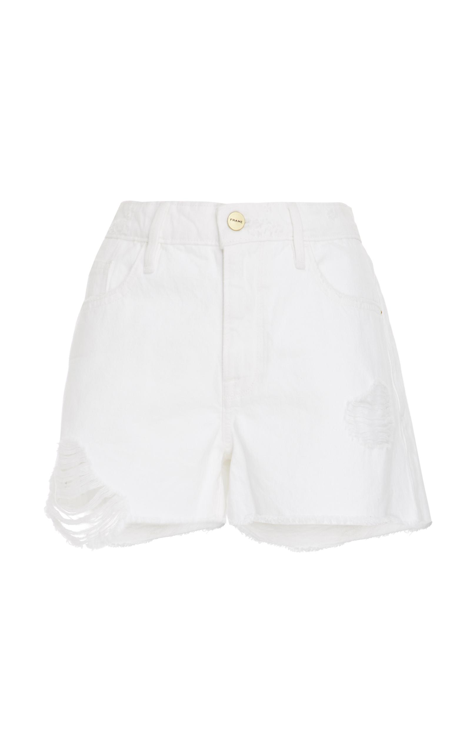 Le Grand Garcon High-Rise Denim Shorts, White