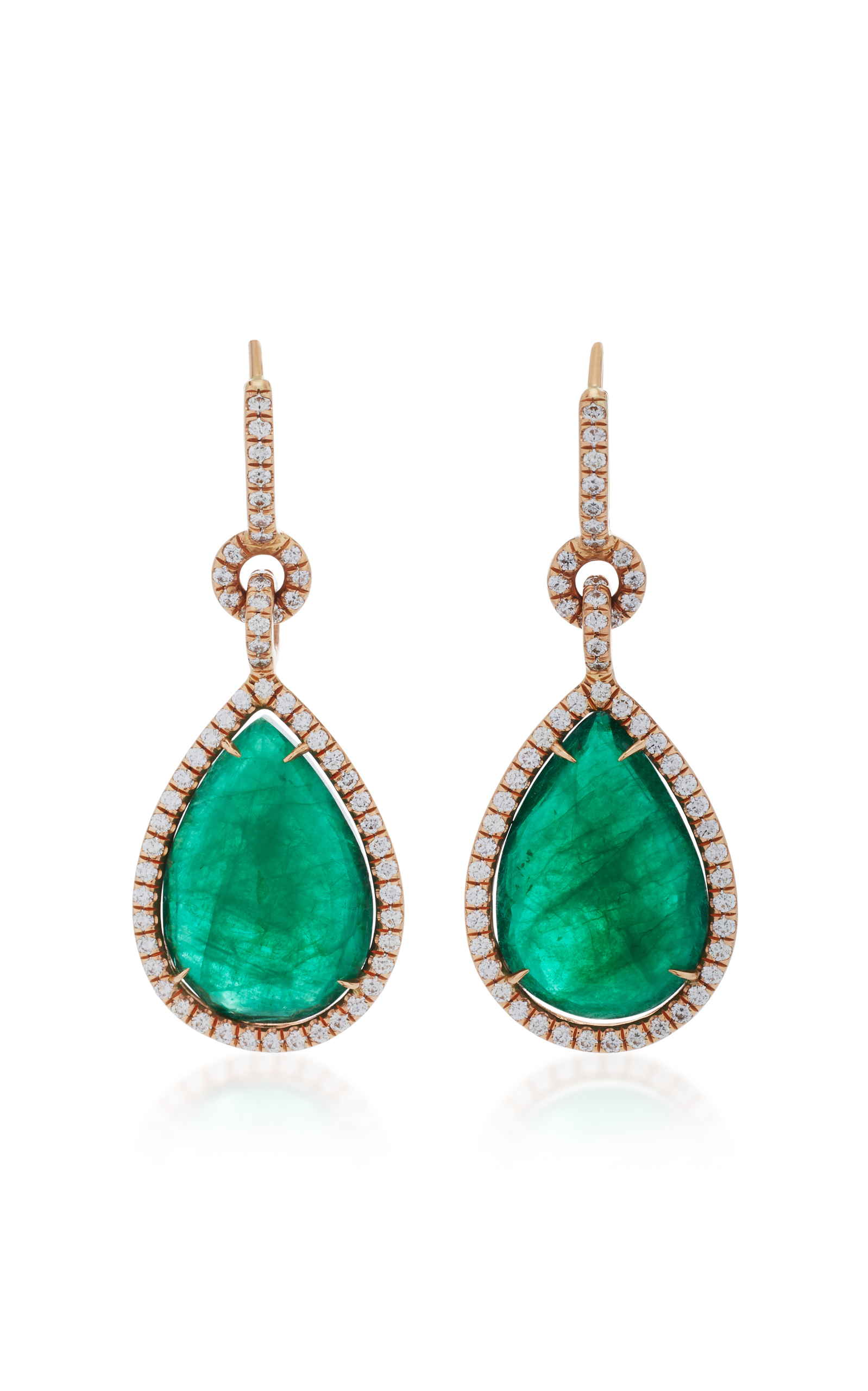 18K Rose Gold Emerald and Diamond Drop Earrings by Nina Runsdorf