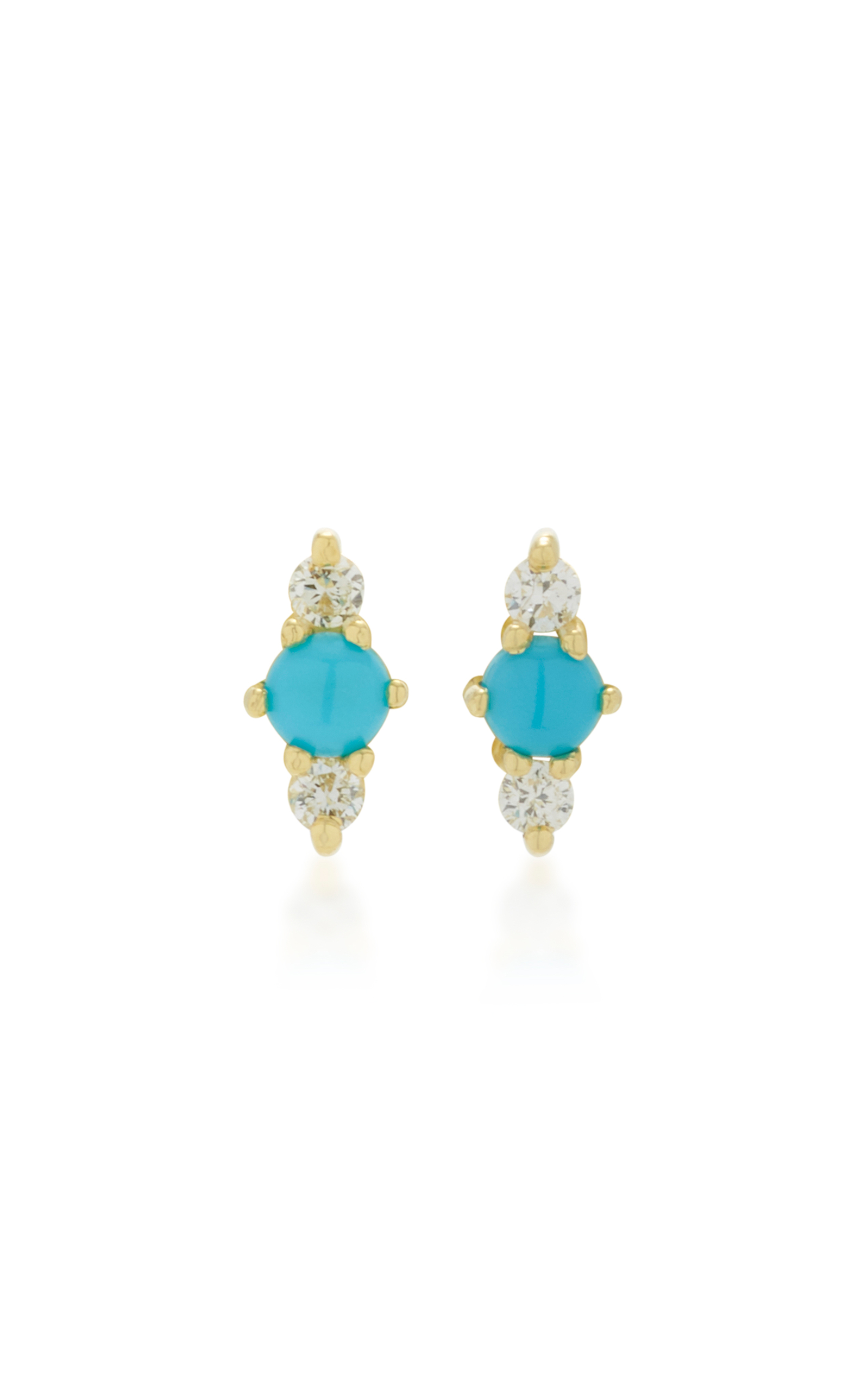 Ila Hanley 14k Gold Turquoise And Diamond Earrings In Blue