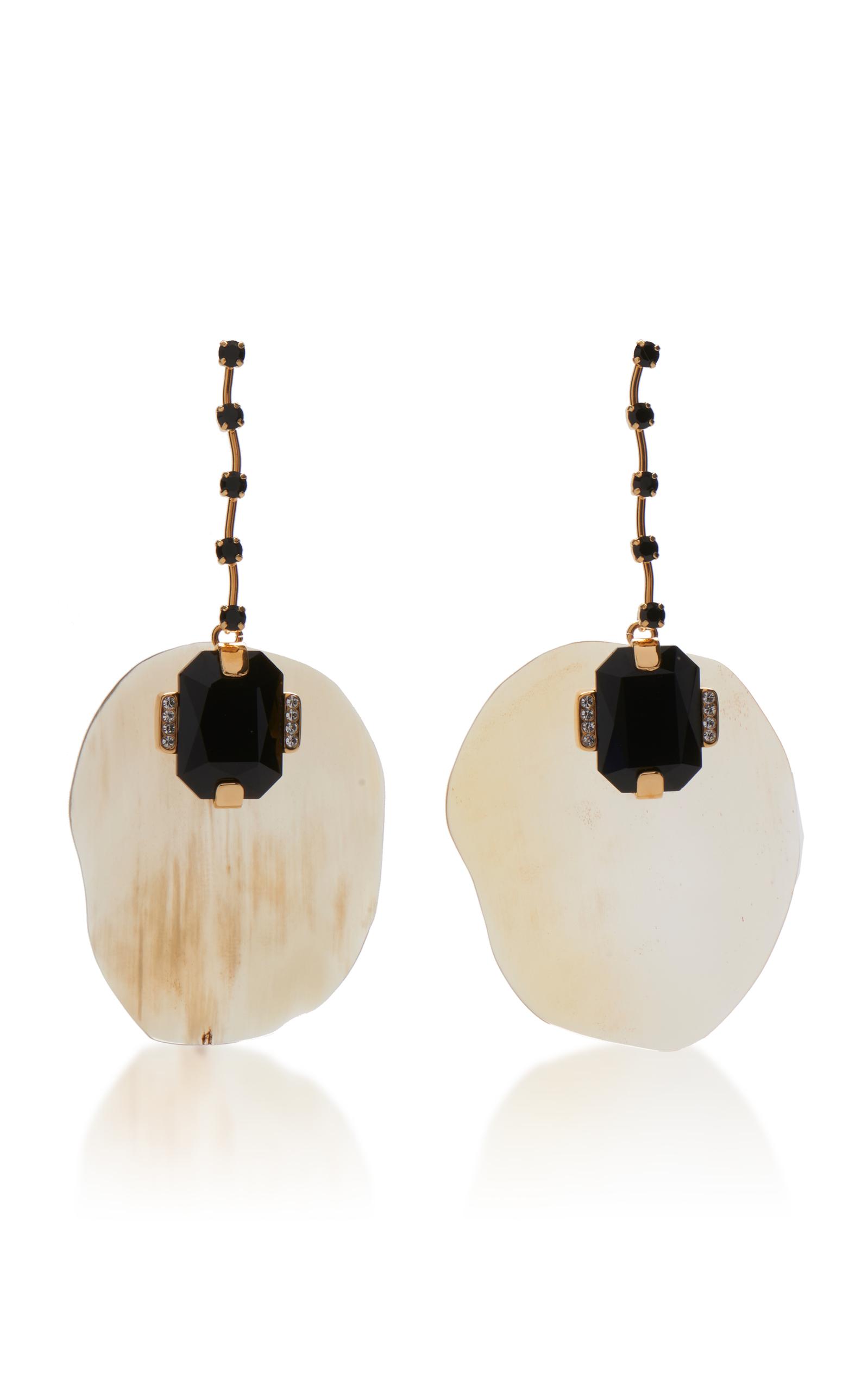 Marni Metal Horn Strass Earrings bLZcGWuVG