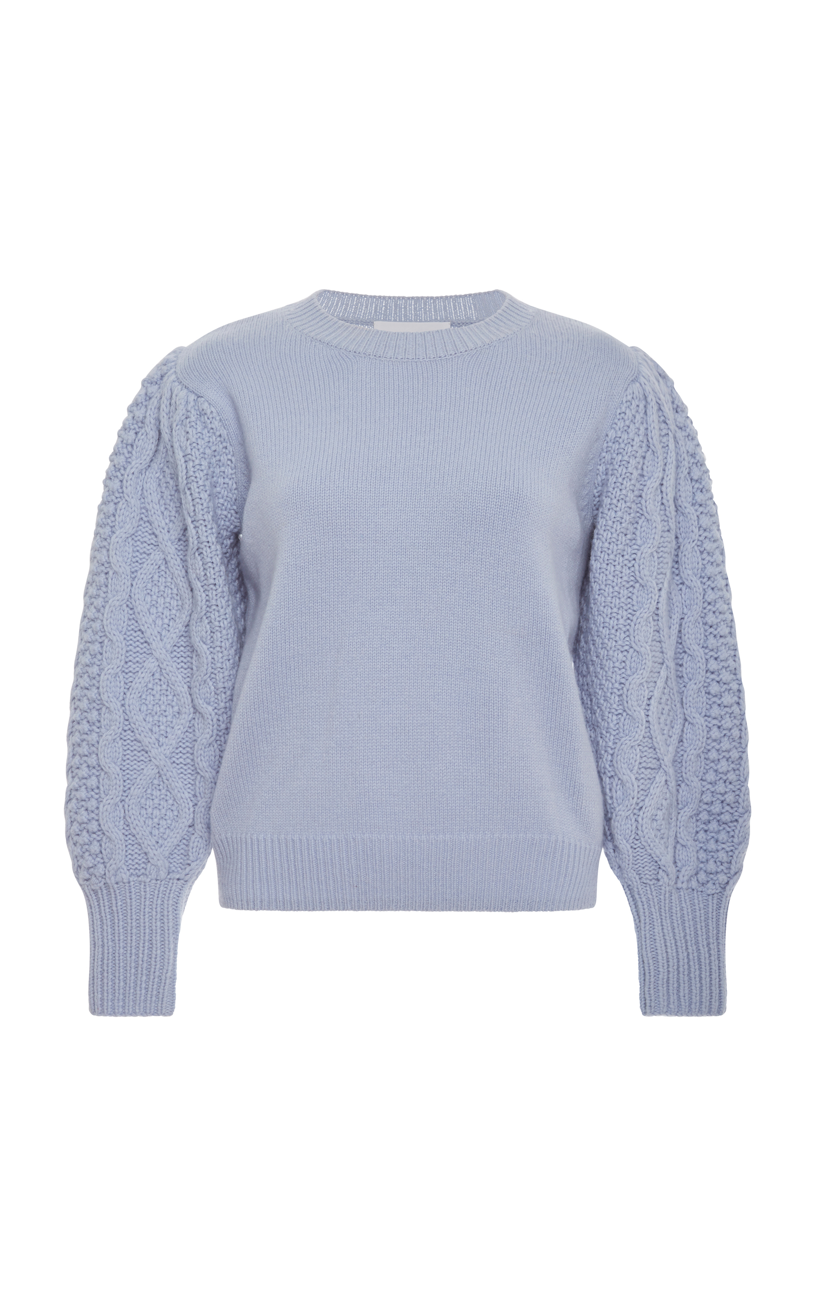 CABLE-KNIT-SLEEVE WOOL-CASHMERE SWEATER