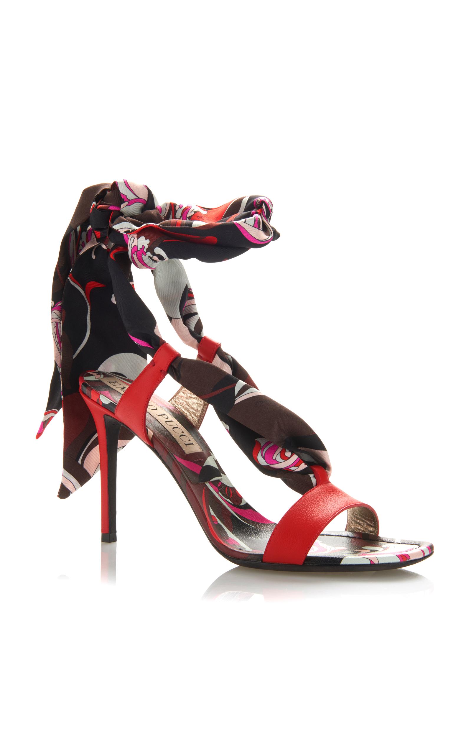 Emilio Pucci Silk Tie Heeled Sandal uDHMgM