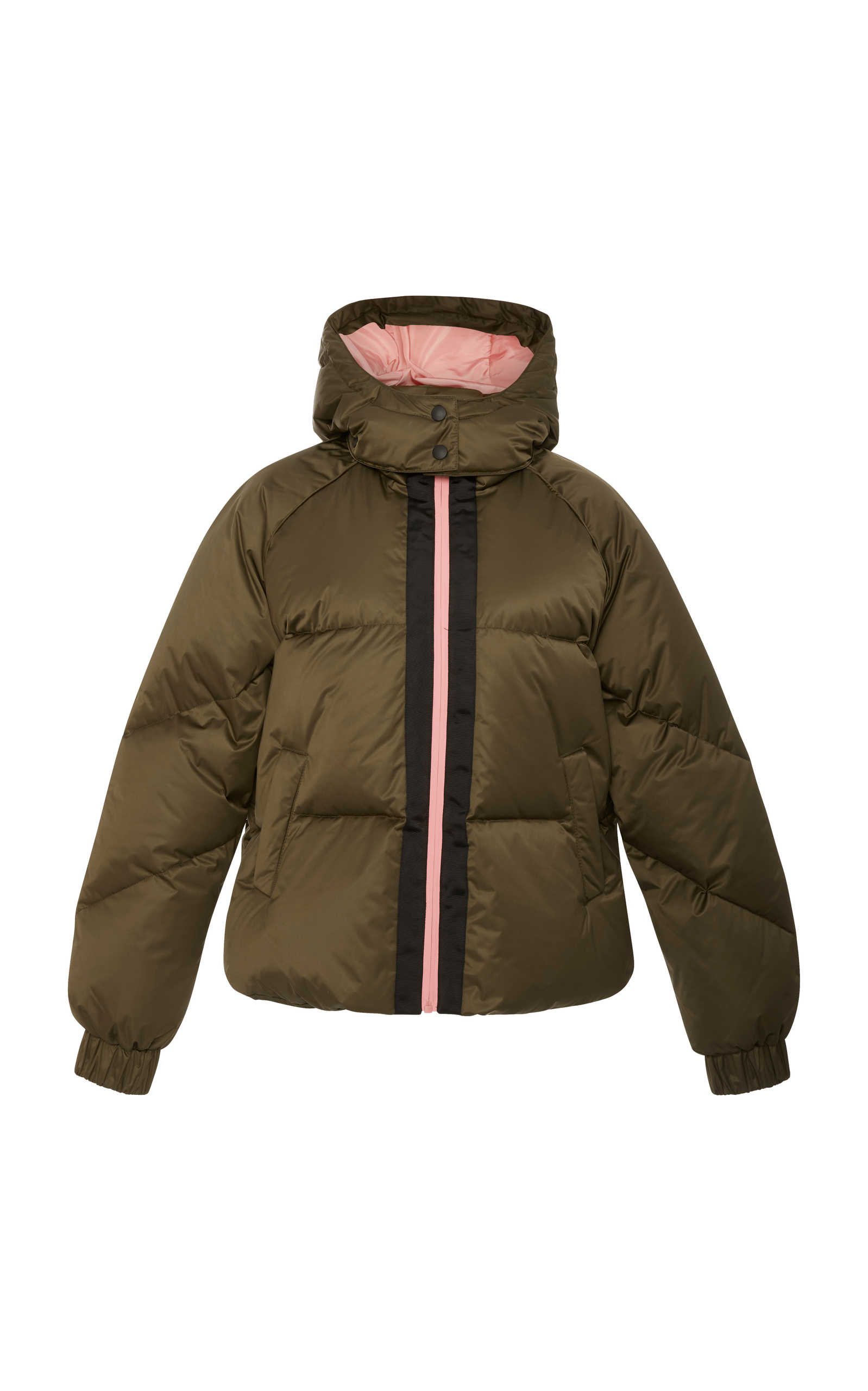 Puffer jacket with hood and contrasting zip