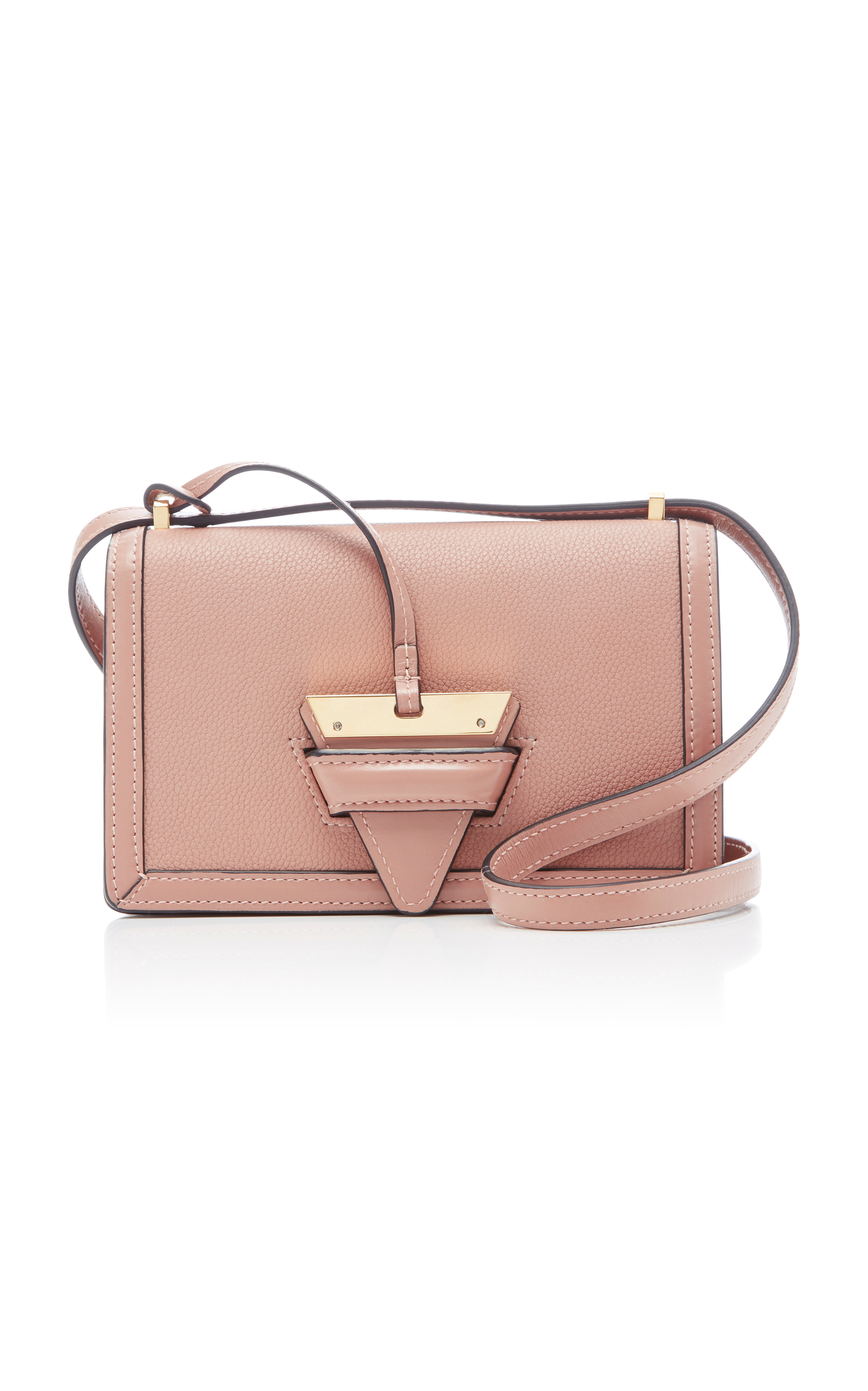 Small Barcelona Grainy Leather Crossbody Bag - Beige, Pink