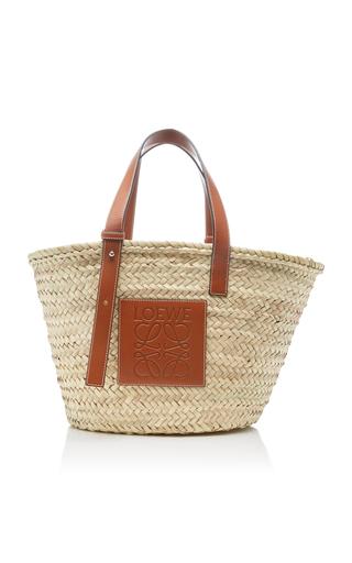 LOEWE | Loewe Leather-Trimmed Woven Raffia Medium Basket Bag | Goxip