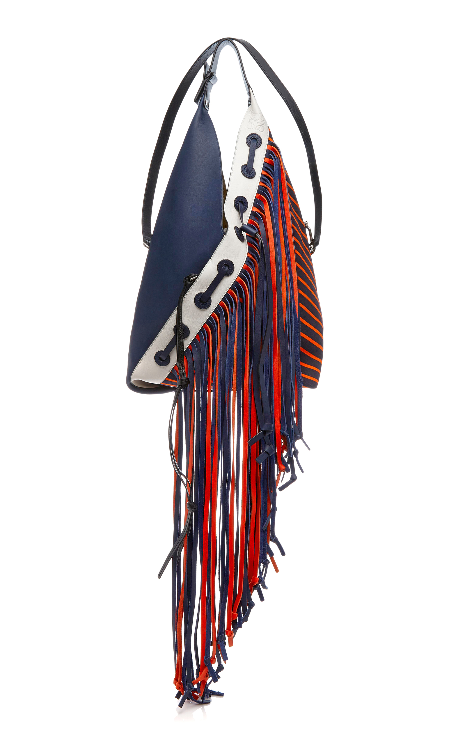 Loewe Canvases TWO TONED SLING CANVAS BAG WITH LEATHER FRINGE