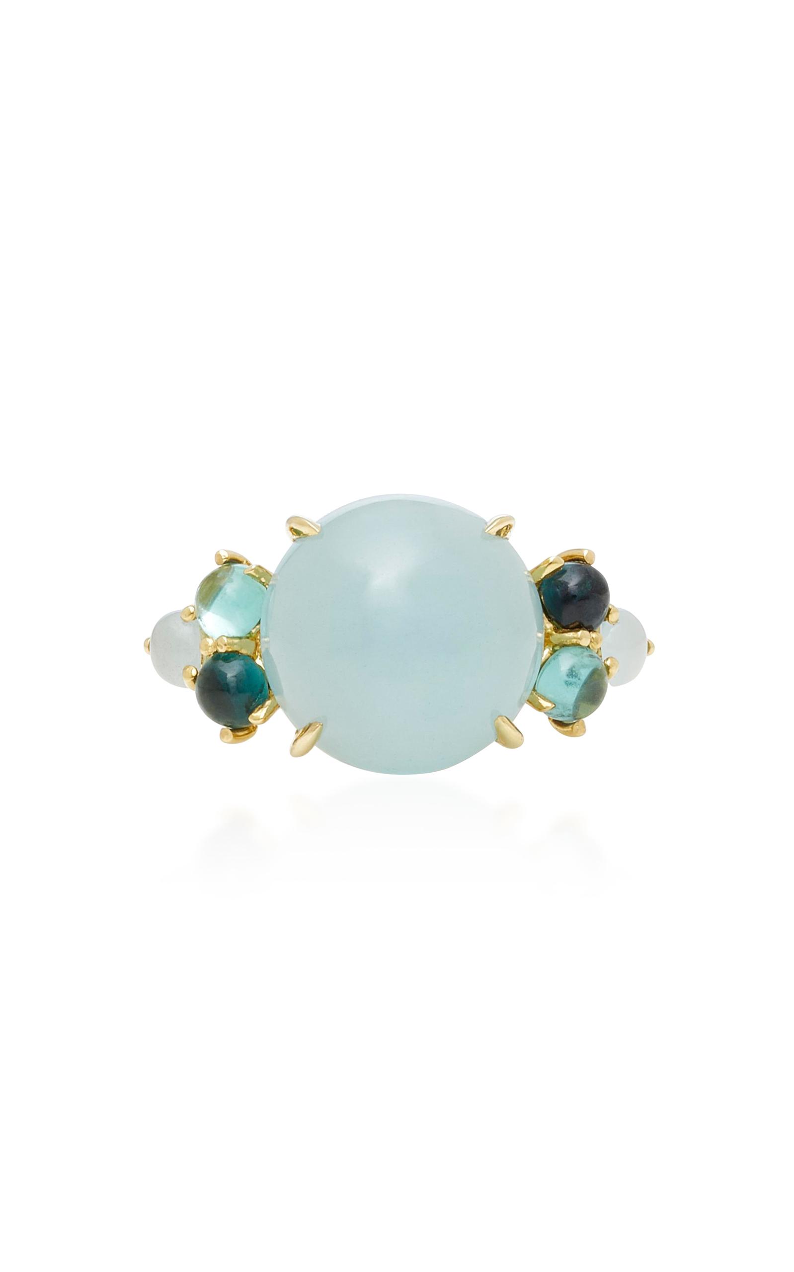 DARIA DE KONING Dagny 18K Yellow Gold Multi-Stone Grande Ring in Blue