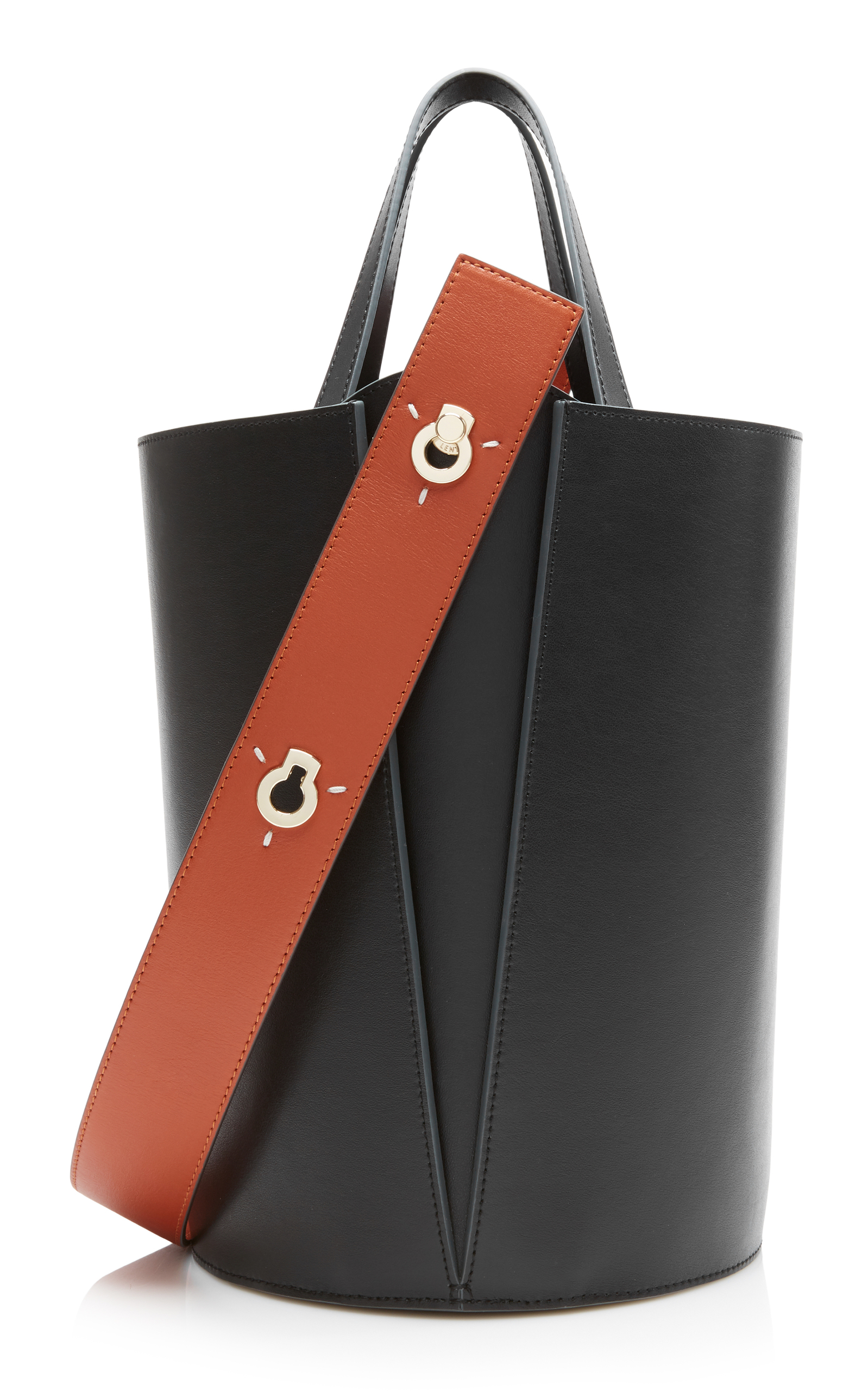 DANSE LENTE Lorna Mini Two-Tone Leather Bucket Bag in Black