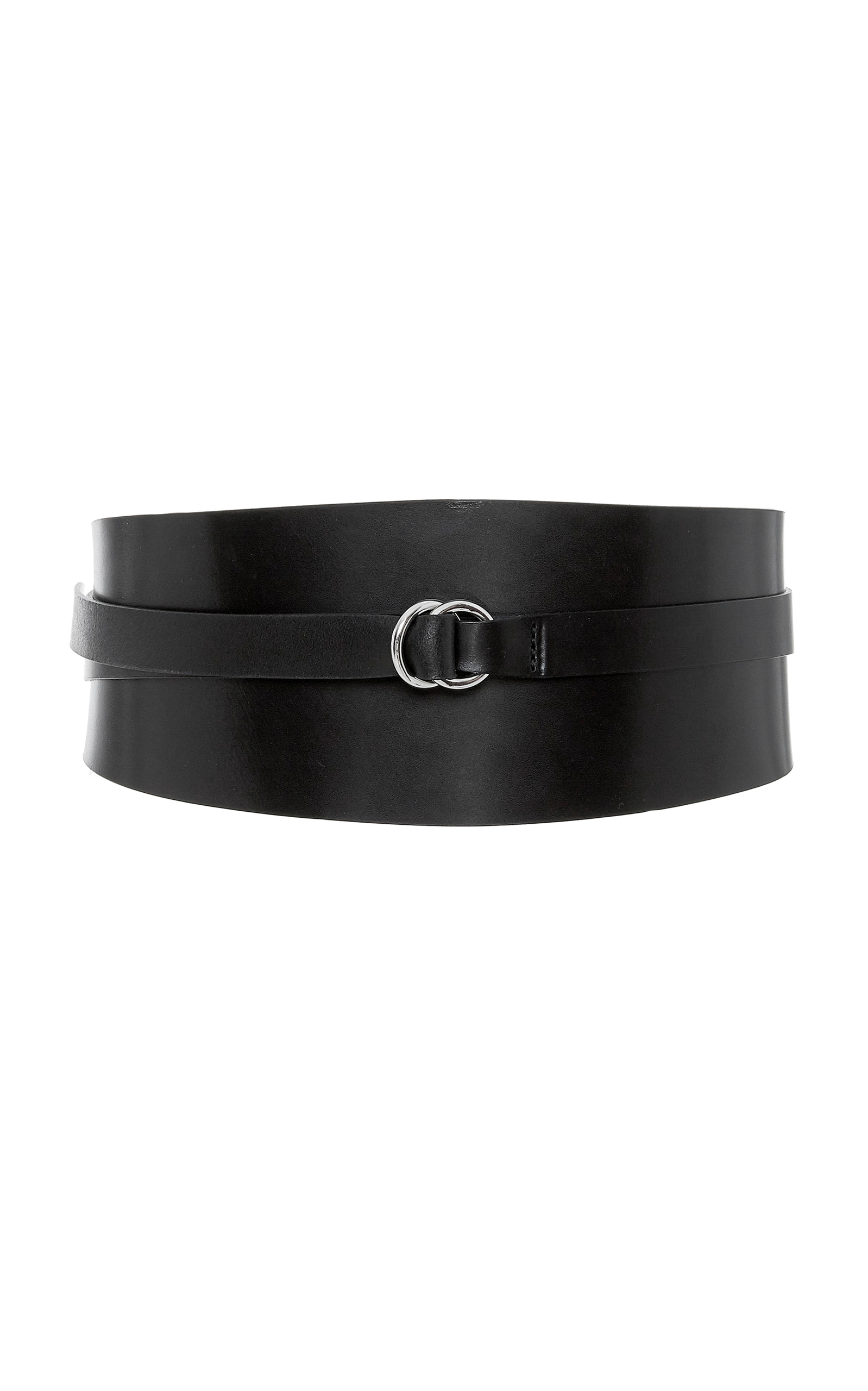 Wide leather wraparound belt
