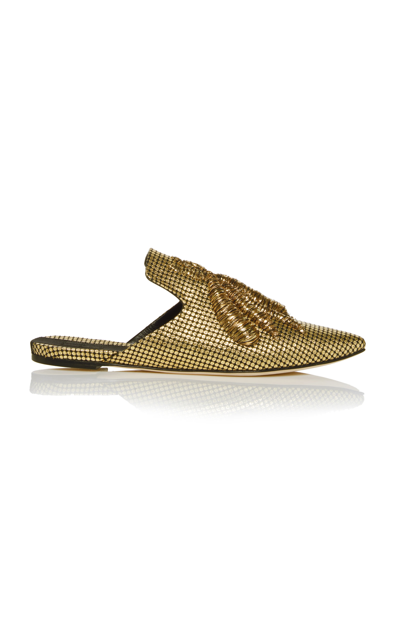 Ragno Striped Gold Flat Slippers Sanayi 313 JrC1P