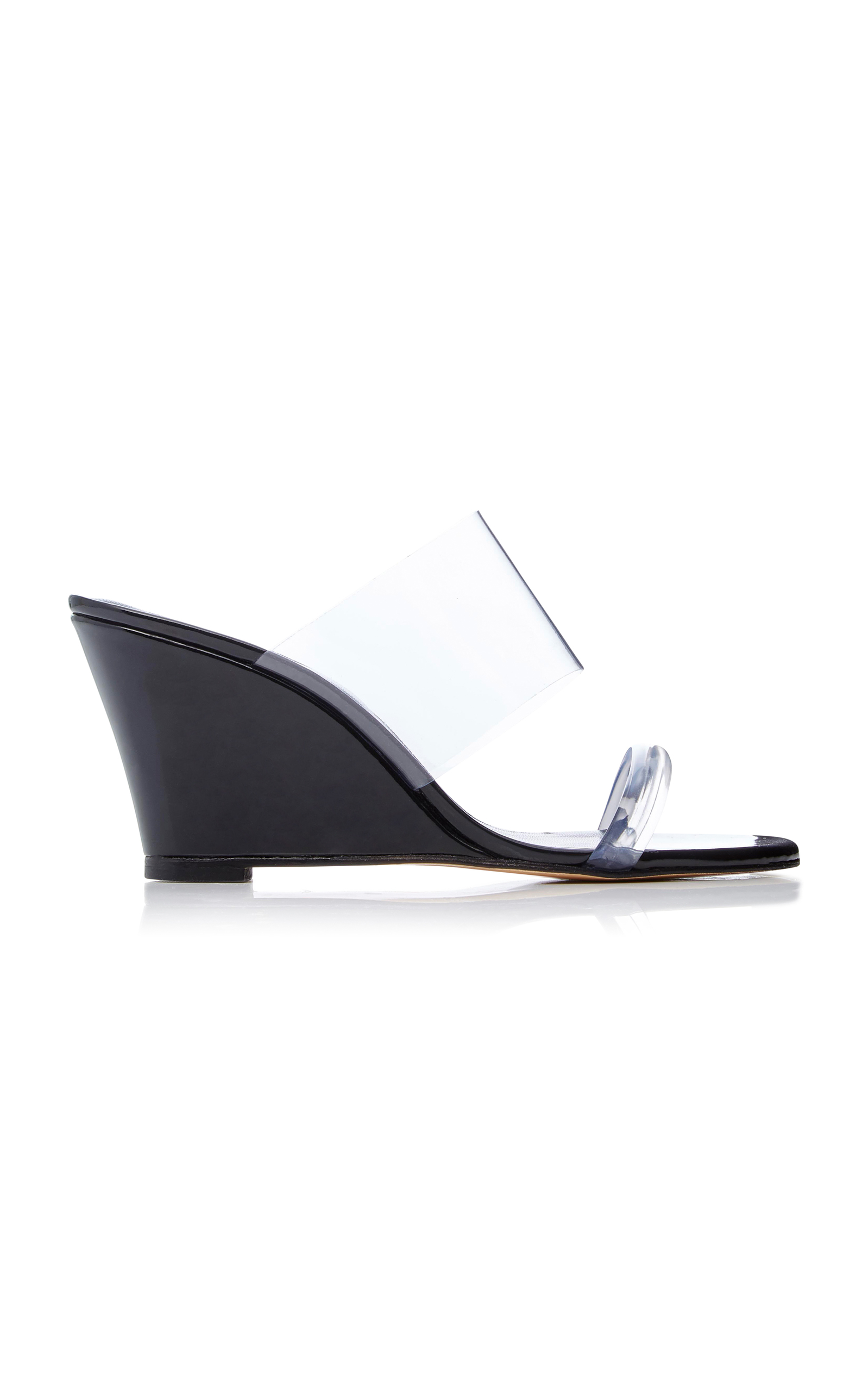 MARYAM NASSIR ZADEH Olympia Pvc-Trimmed Leather Wedge Heels in Black