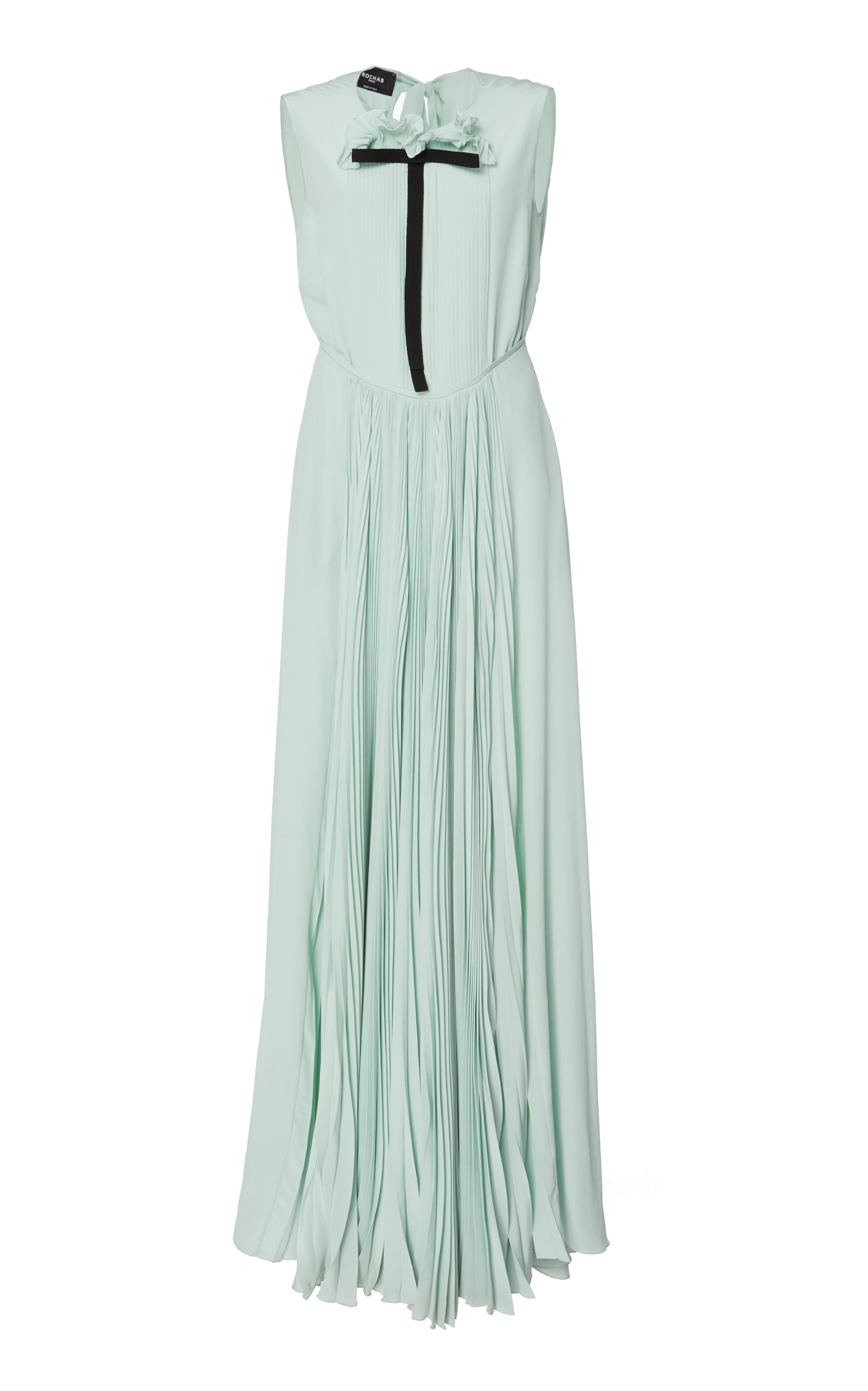 Mint Green Silk Pleated Front Gown Pussy Dress, Blue
