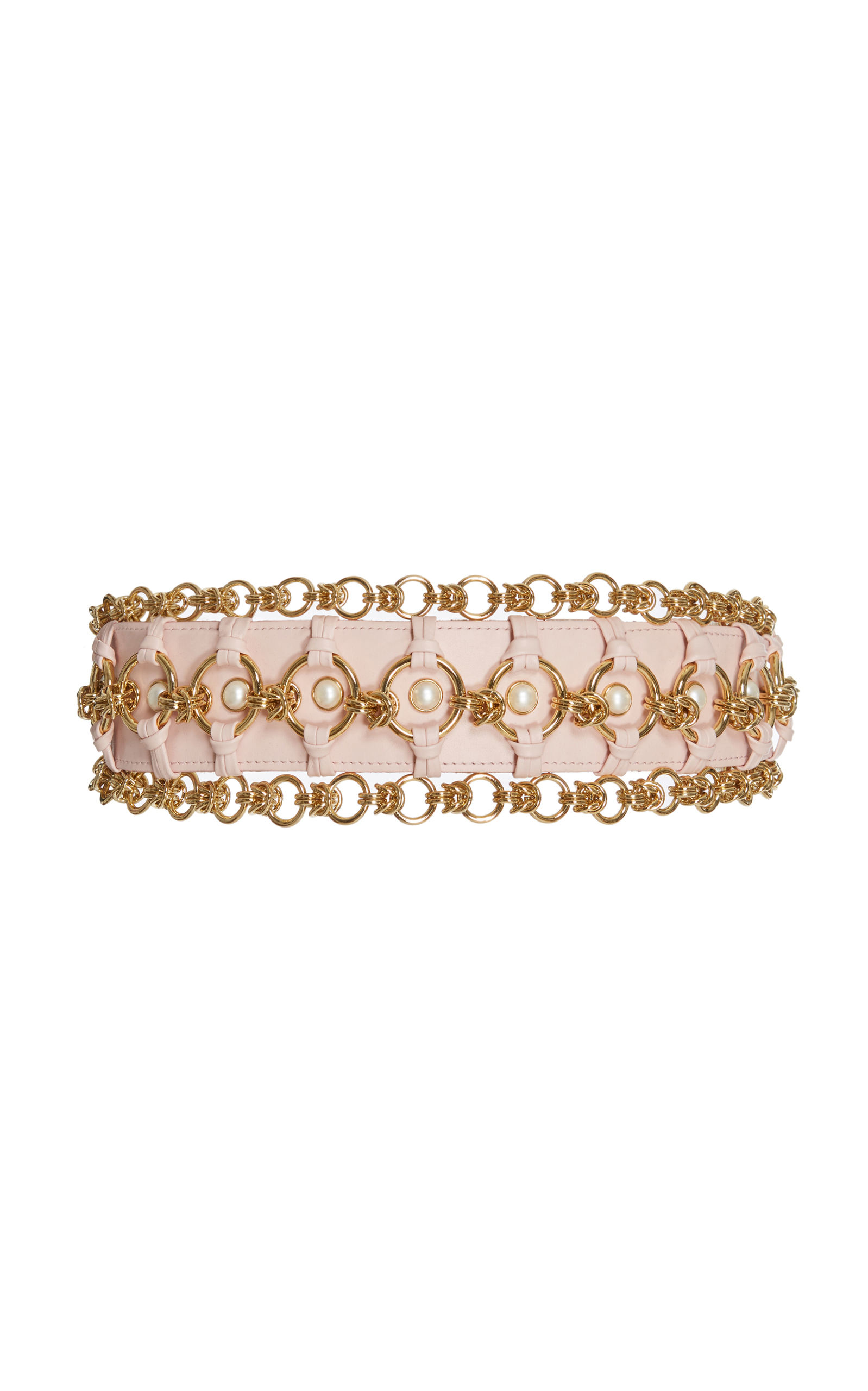 High Waist Pearl And Brass Chain Belt in Pink