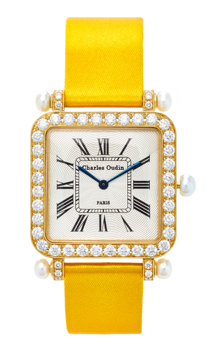 CHARLES OUDIN | Charles Oudin 18K Yellow Gold Diamond and Pearl Large Pansy Retro Watch | Goxip