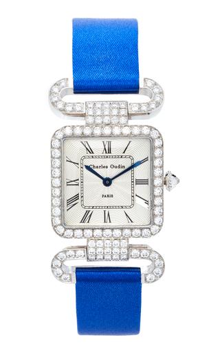 CHARLES OUDIN | Charles Oudin 18K White Gold Diamond Rose Retro Watch | Goxip