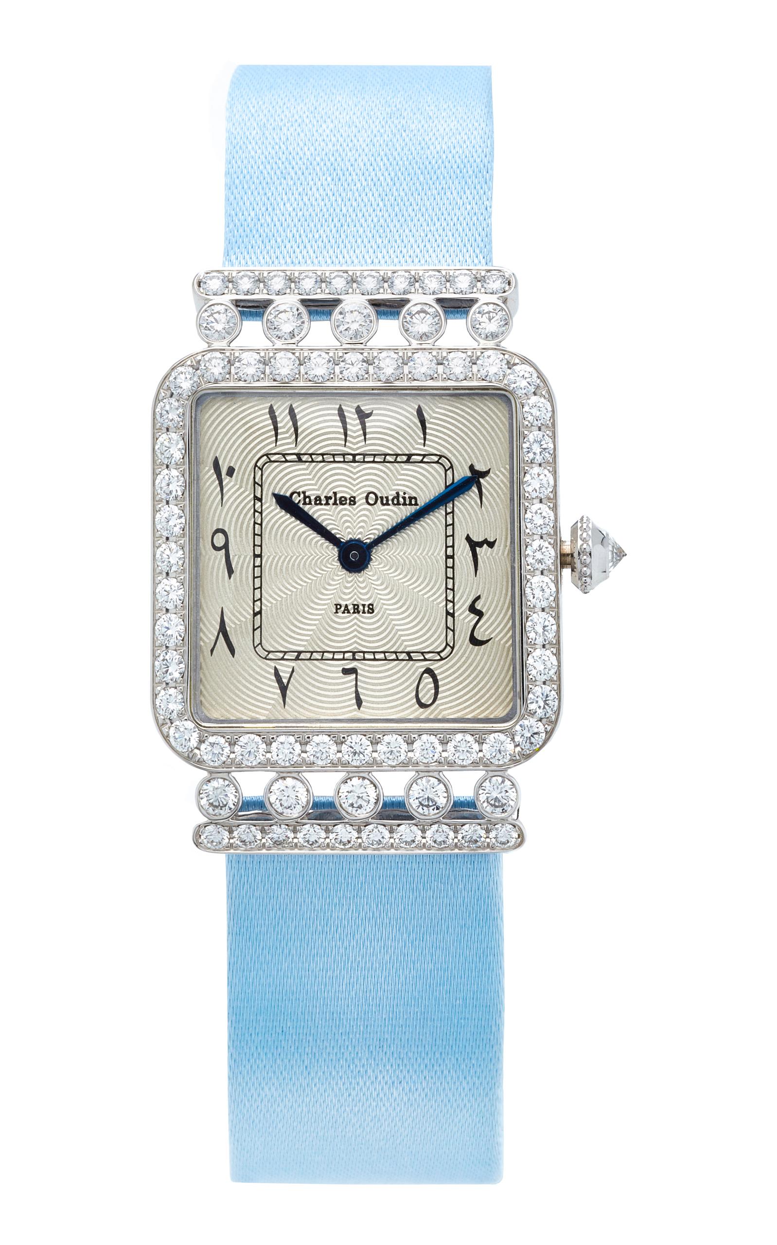 CHARLES OUDIN 18K White Gold Diamond Iris Retro Watch