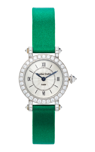 CHARLES OUDIN | Charles Oudin 18K White Gold Diamond Small Pansy Retro Watch | Goxip
