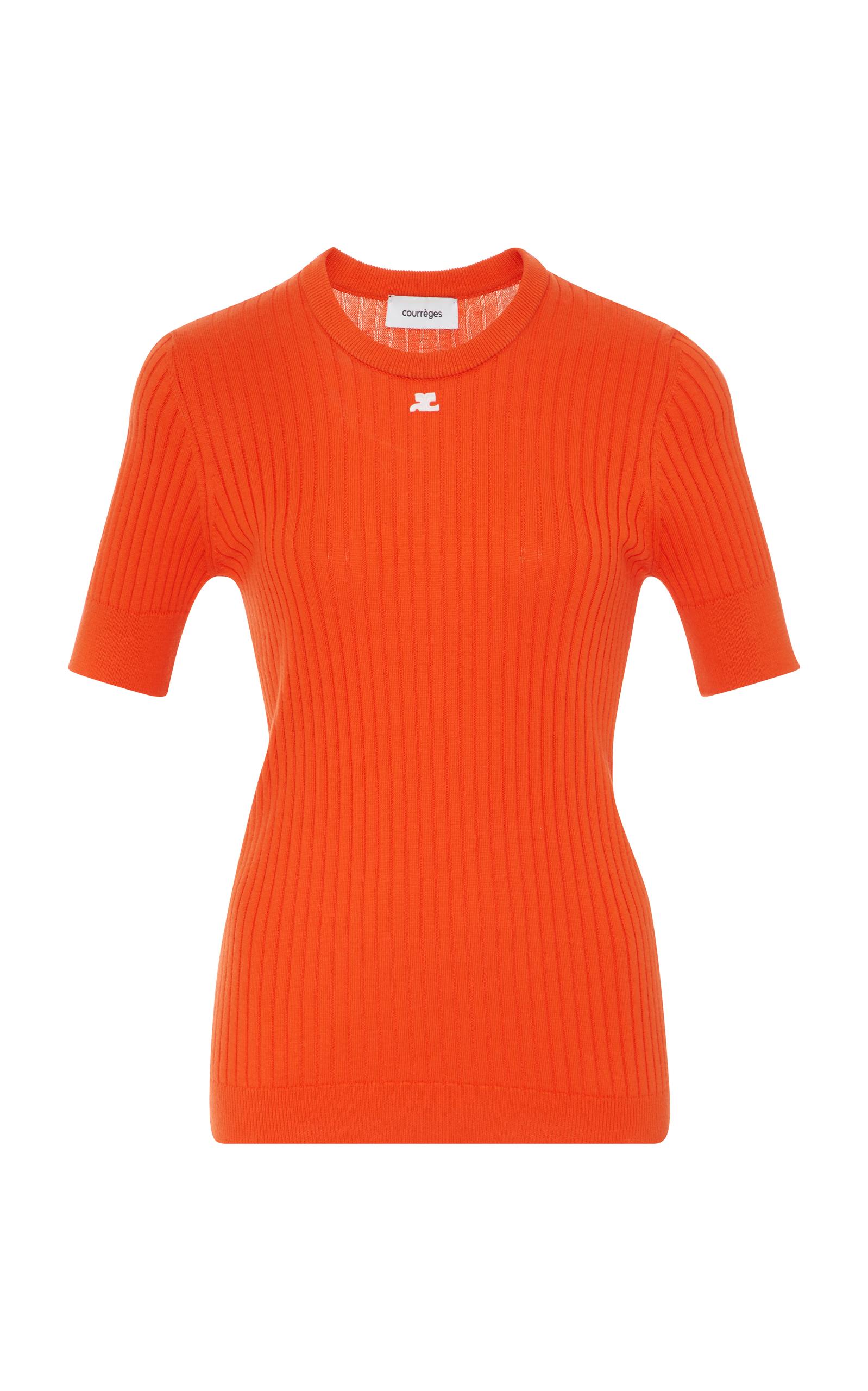 COURRÈGES Slim Cotton & Cashmere Knit Top in Orange