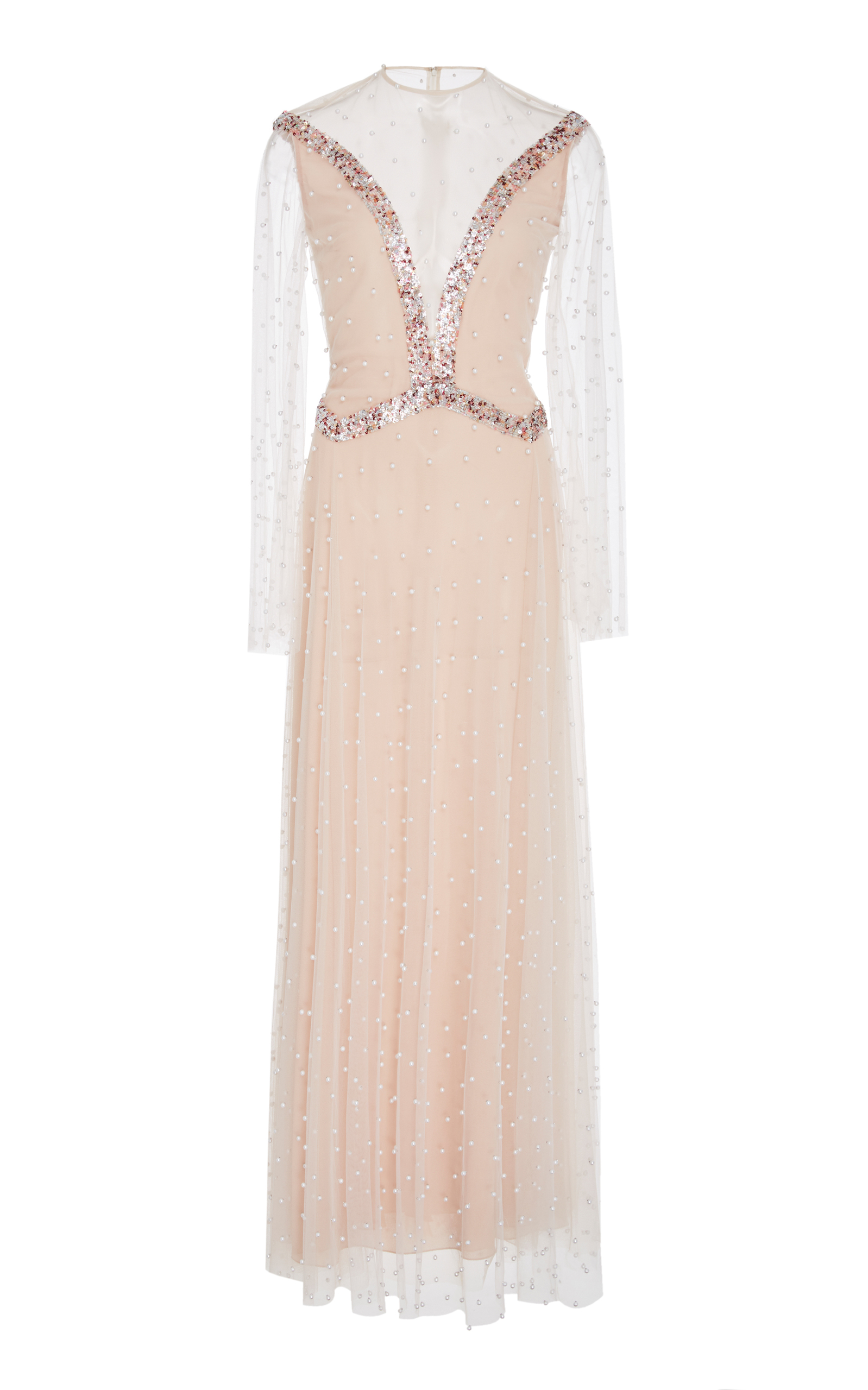 SANDRA MANSOUR M'O Exclusive Embellished Tulle Dress in Pink