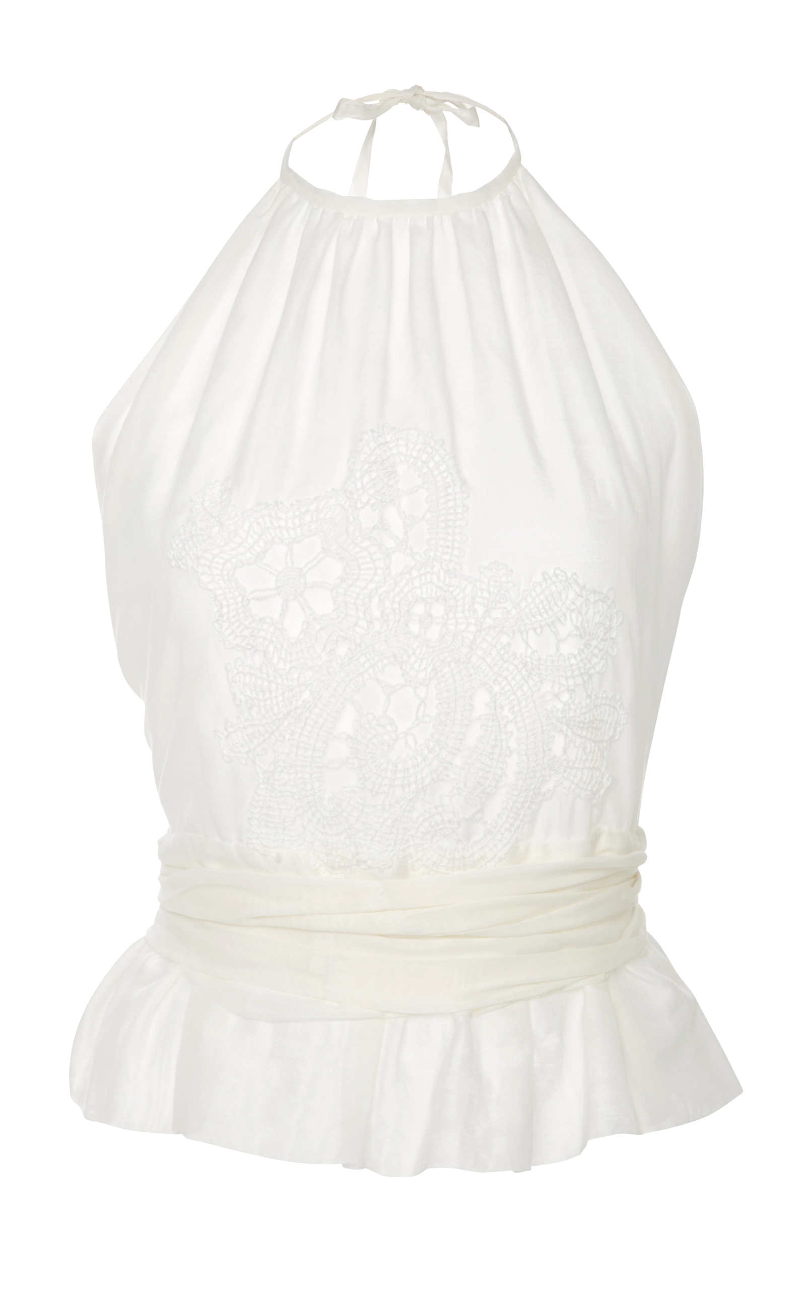 0534b91b674 Pleated Peplum Cotton And Silk-Voile Halter Top by Lila Eugenie ...