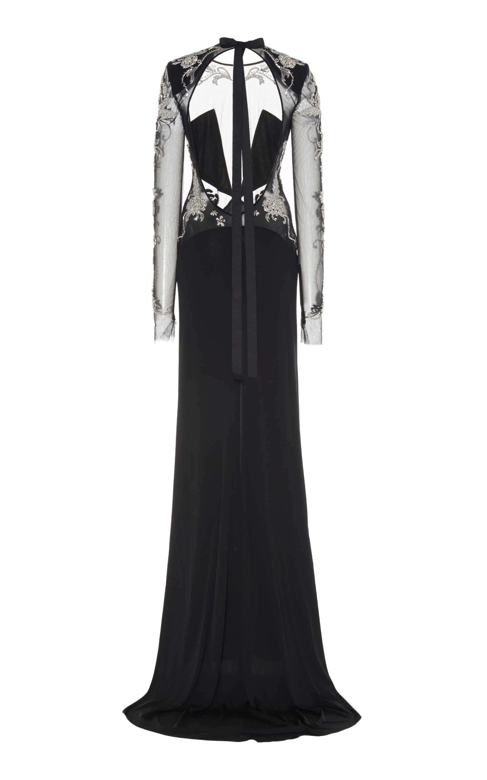 Crystal Embellished Illusion Long Sleeve Gown Dundas