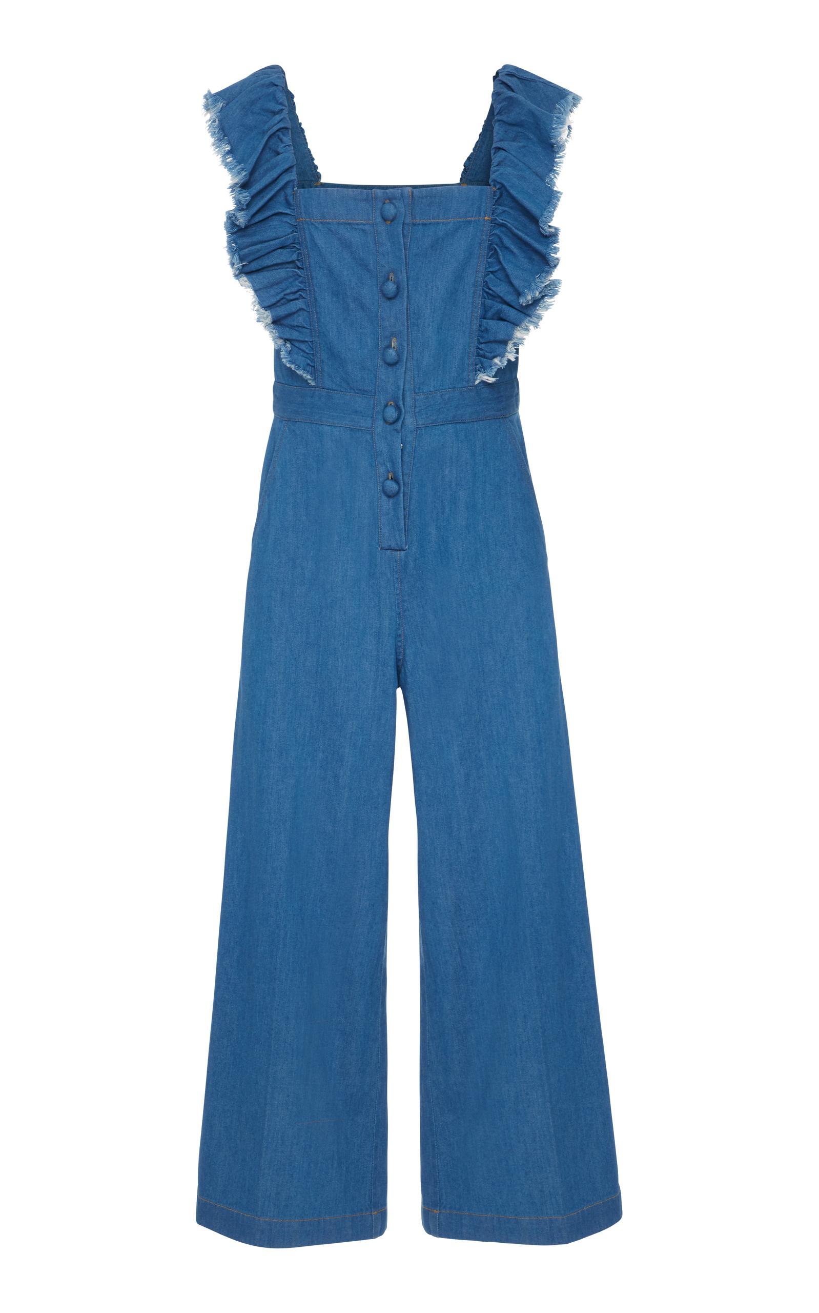 4a4bd96c5f2 Sea Wide-Leg Ruffled Denim Jumpsuit In Blue