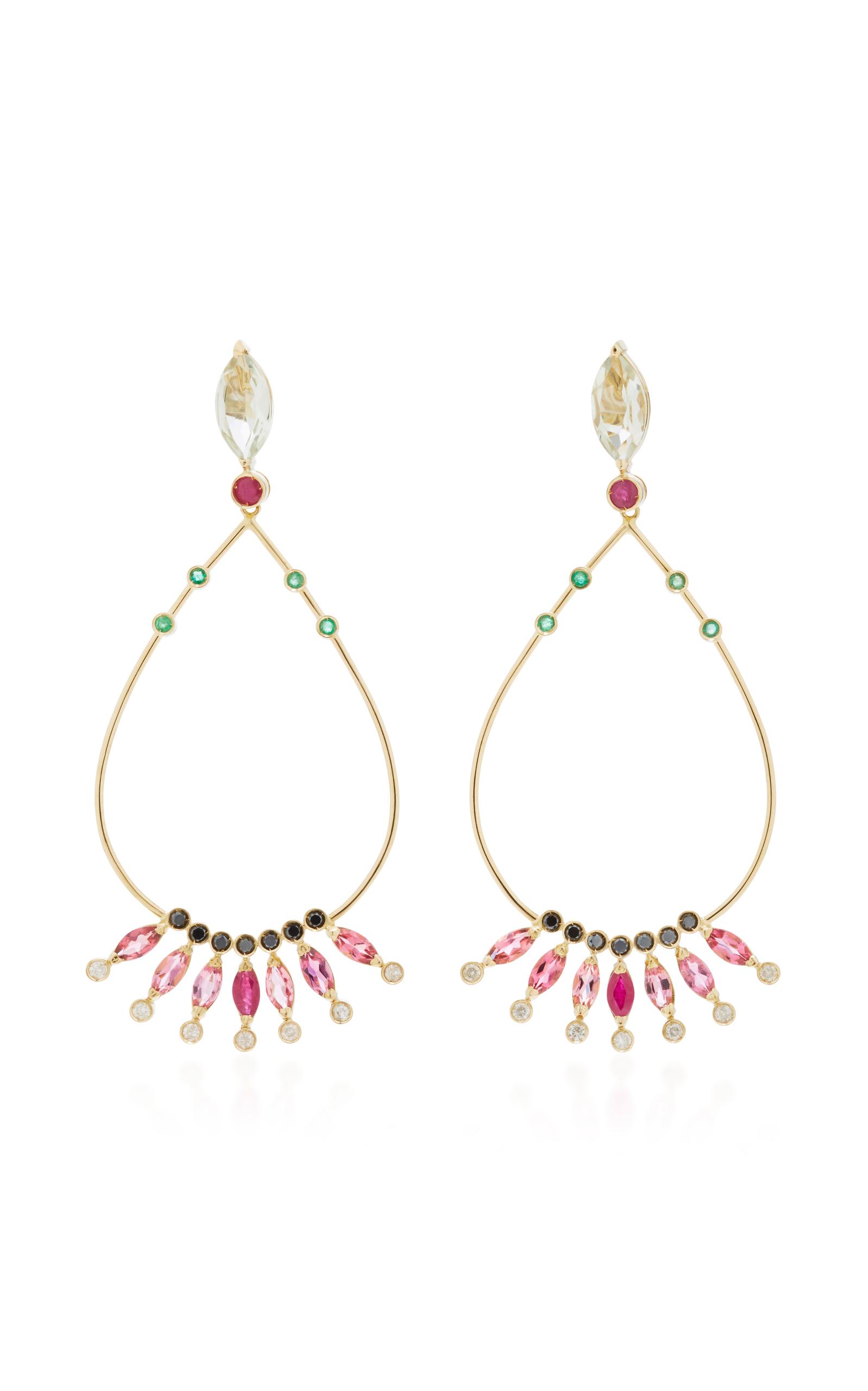 18 K Gold Multi Stone Drop Earrings by Carolina Neves