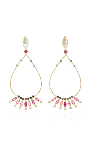 CAROLINA NEVES   Carolina Neves 18K Gold Multi-Stone Drop Earrings   Goxip