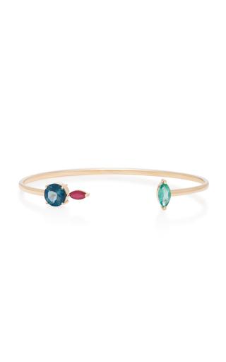 CAROLINA NEVES   Carolina Neves 18K Gold Multi-Stone Rose Detail Bracelet   Goxip