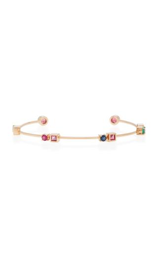 CAROLINA NEVES   Carolina Neves 18K Gold Multi-Stone Rose Colors Bracelet   Goxip