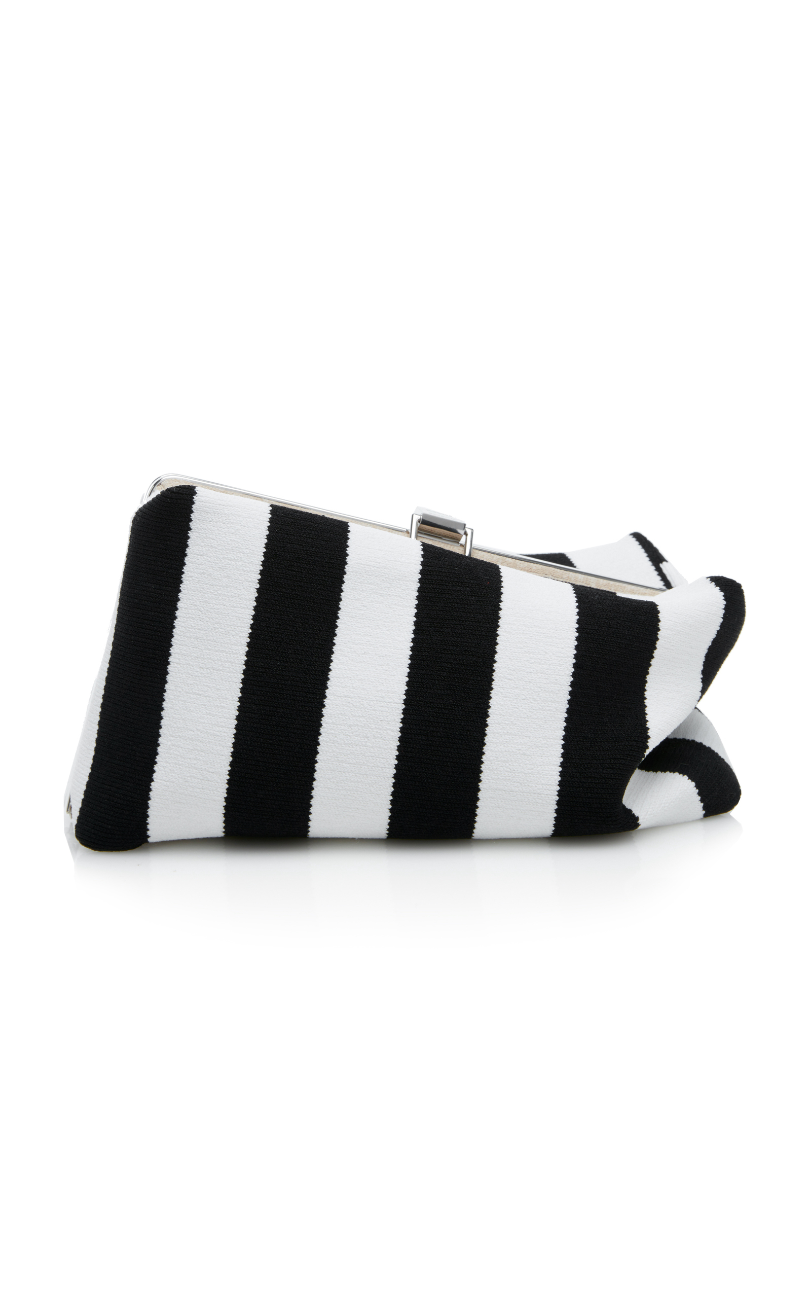 Proenza Schouler Frame Asymmetric Striped Canvas Clutch In Black