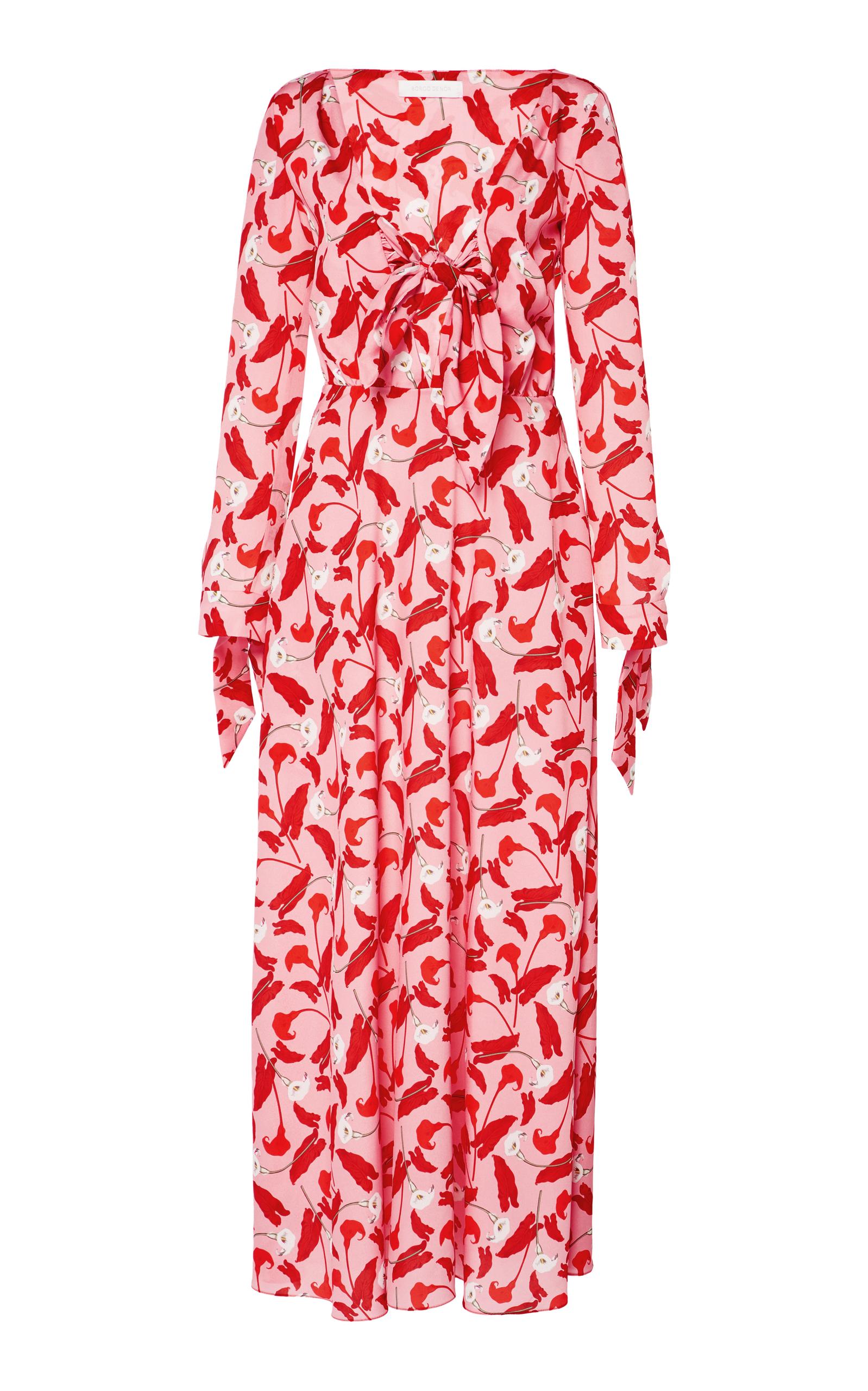 Sonia Floral-Print Crepe De Chine Midi Dress