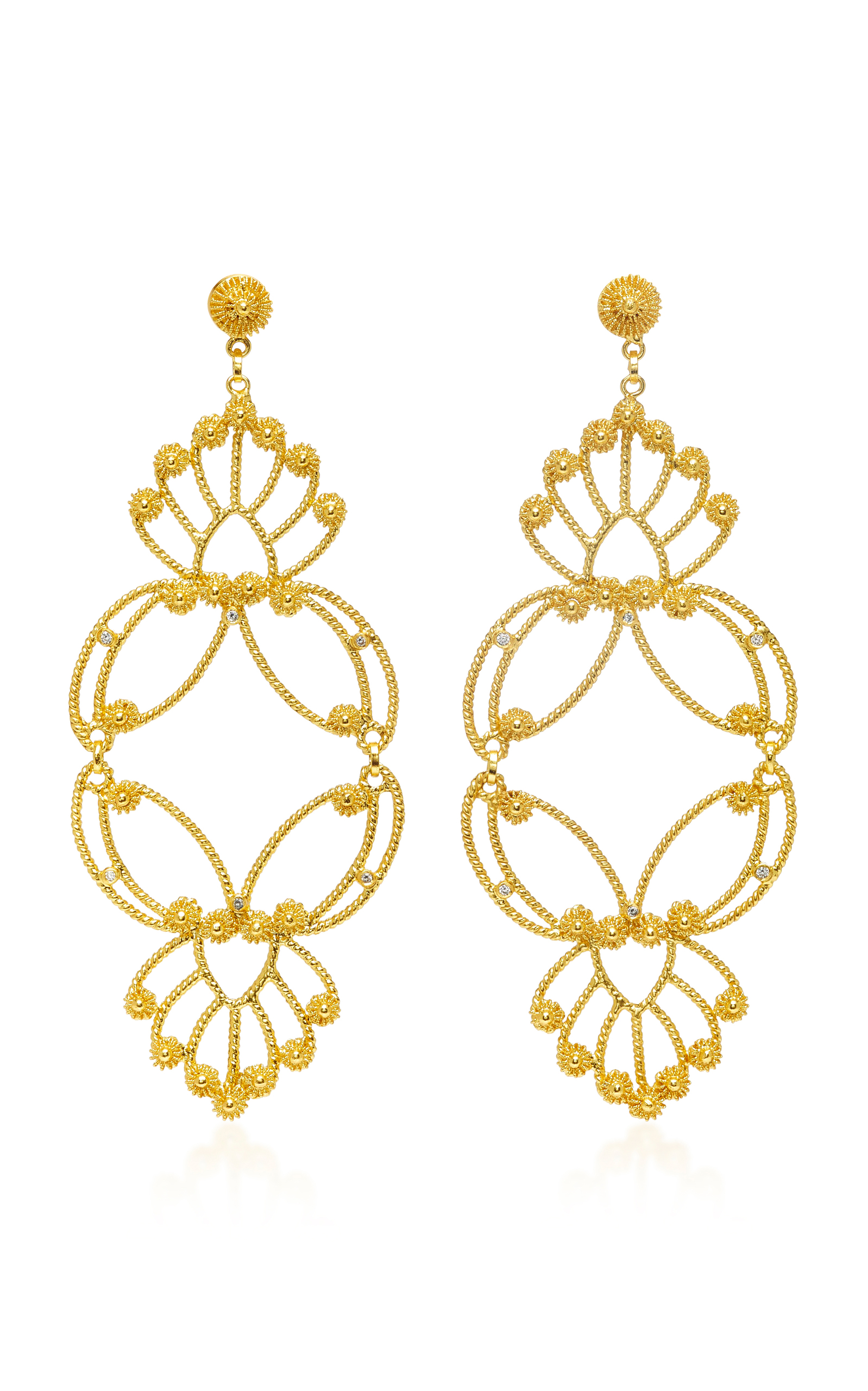 metallic gold plated paula in bubble earrings mendoza stbc lyst jewelry gallery