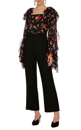 06f253ecfe1b84 Only 1 Left · RodarteFloral Printed Silk Satin Cropped Blouse