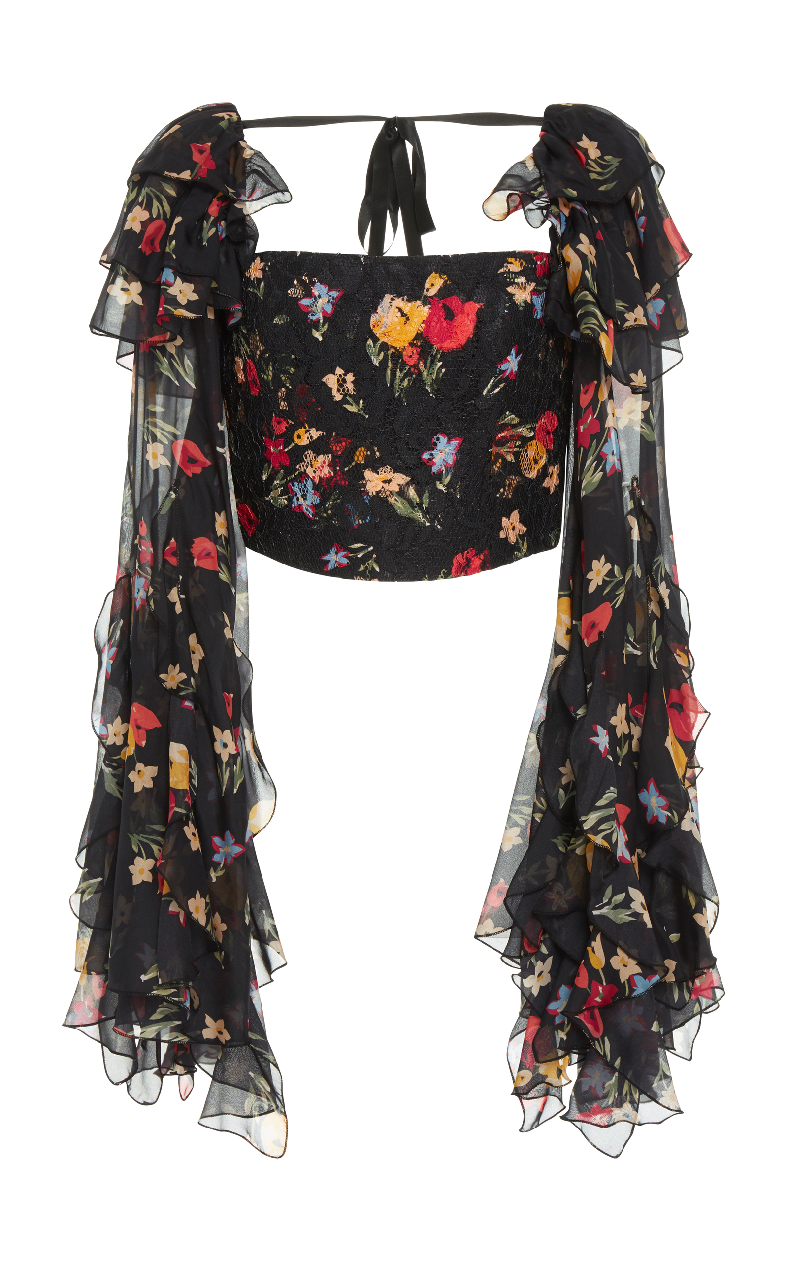 Floral Printed Silk Satin Cropped Blouse Rodarte Shop Offer 100% Authentic Online Clearance High Quality QRsOsau